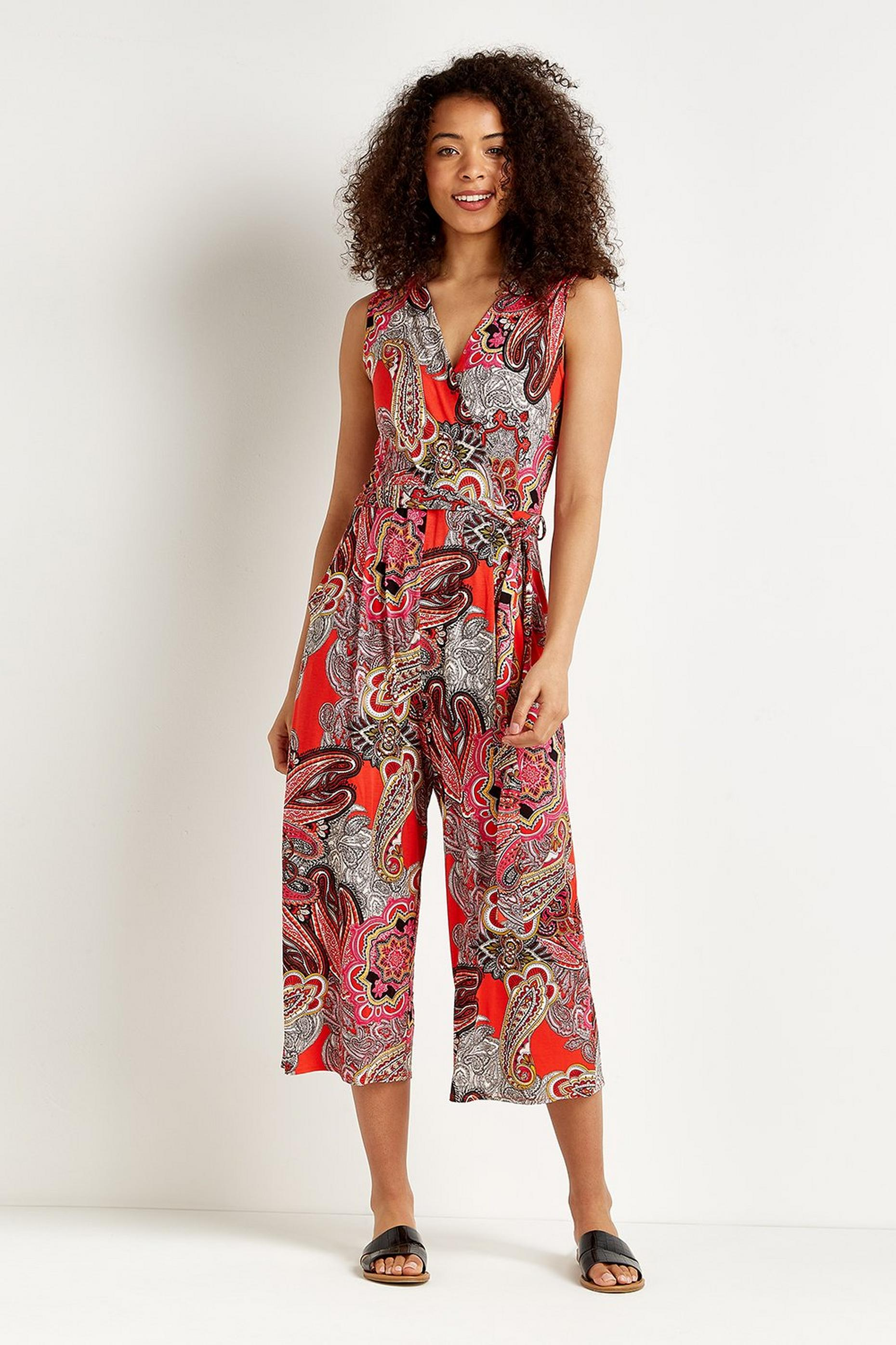 Red Pop Paisley Cropped Jersey Jumpsuit