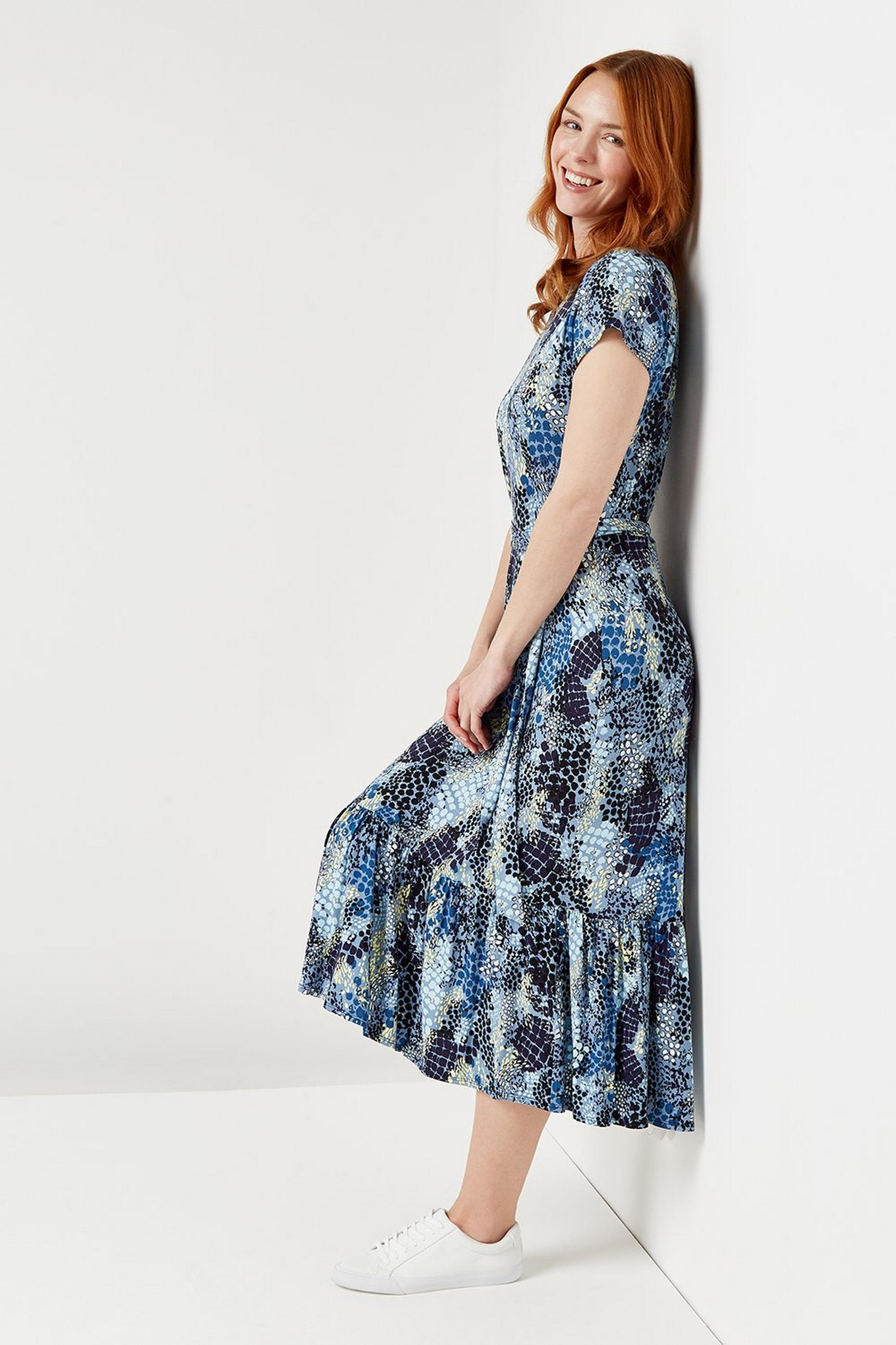 Blue Snake Print Tiered Jersey Midi Dress