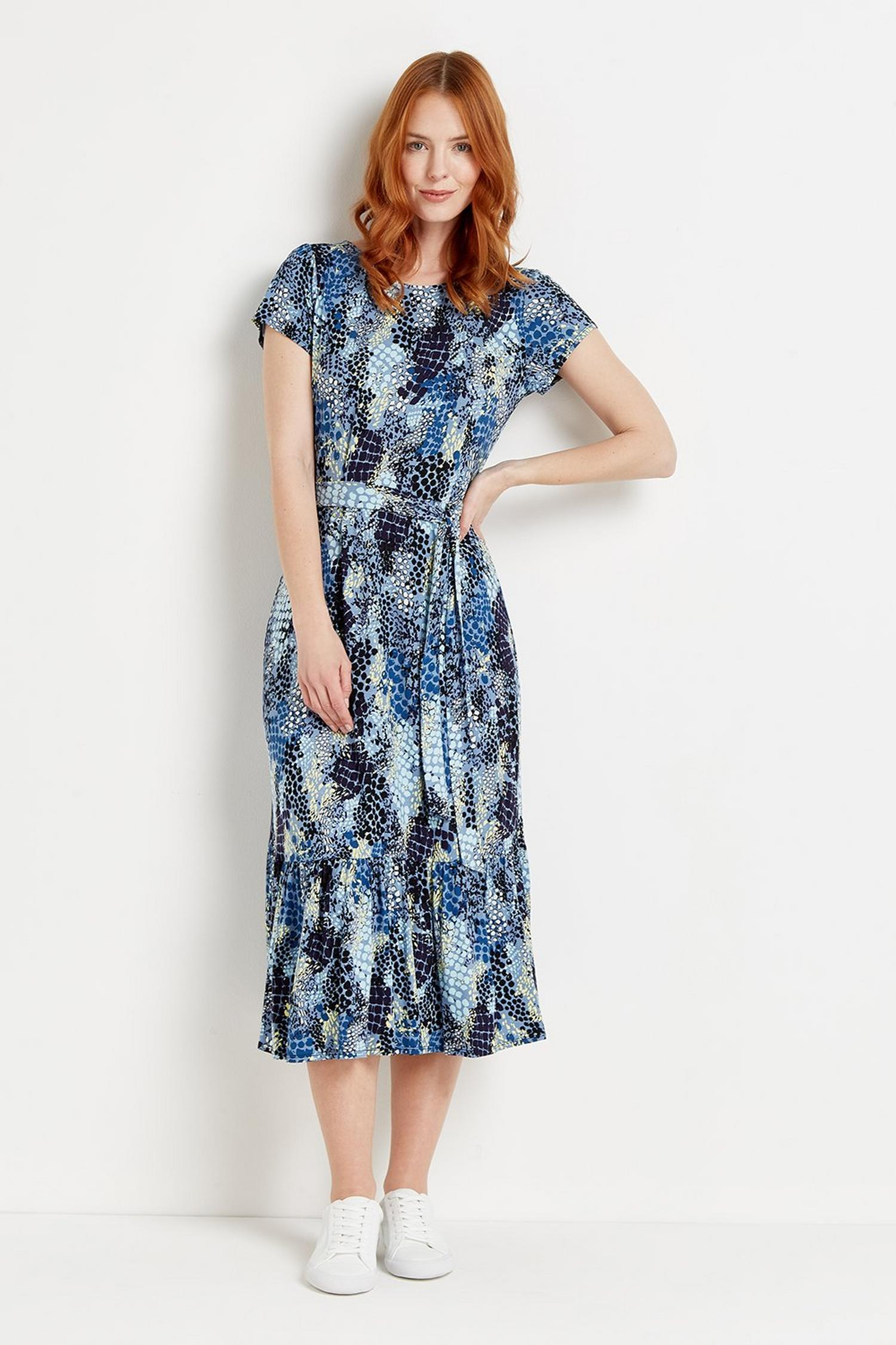 106 Blue Snake Print Tiered Jersey Midi Dress  image number 2