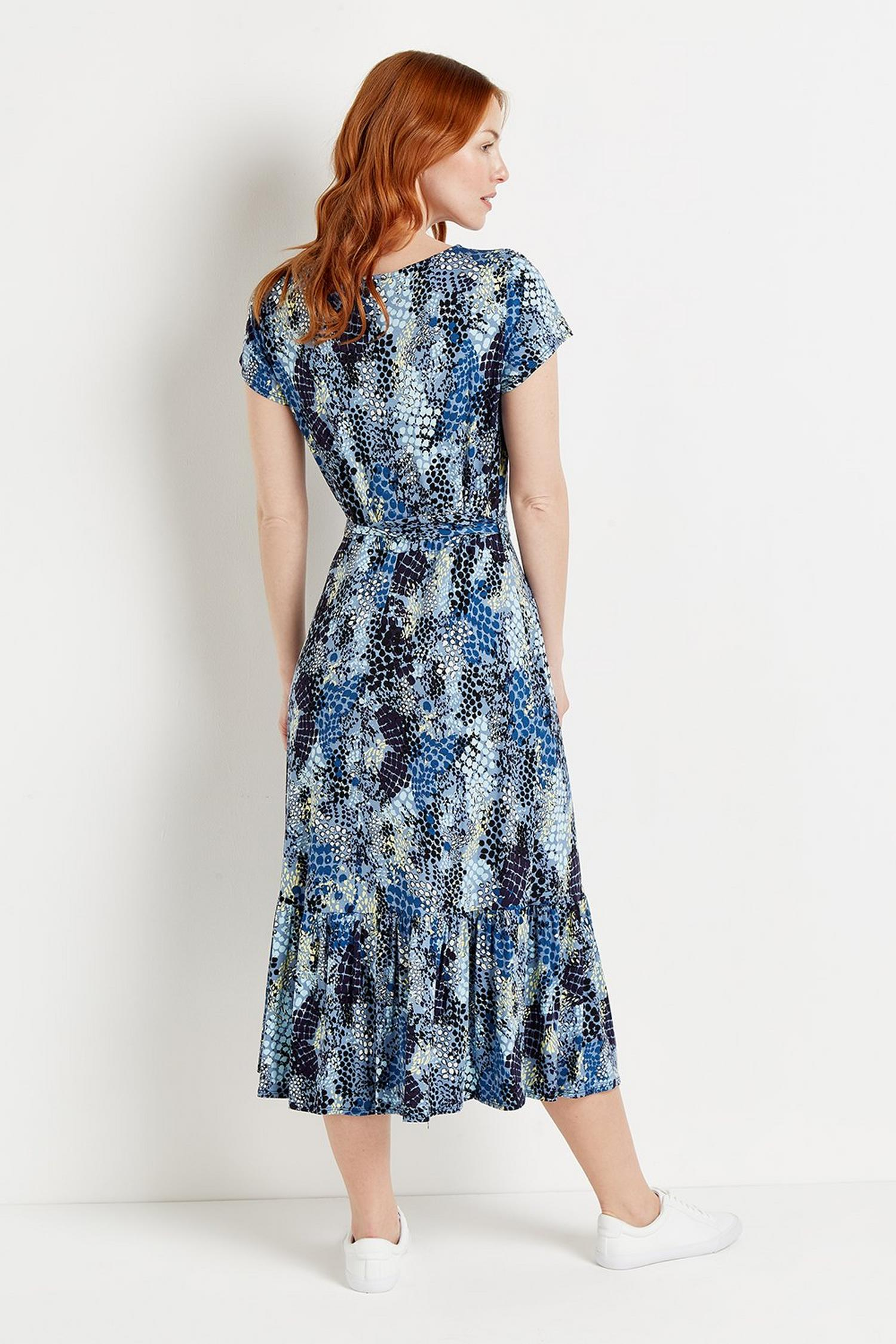 106 Blue Snake Print Tiered Jersey Midi Dress  image number 3