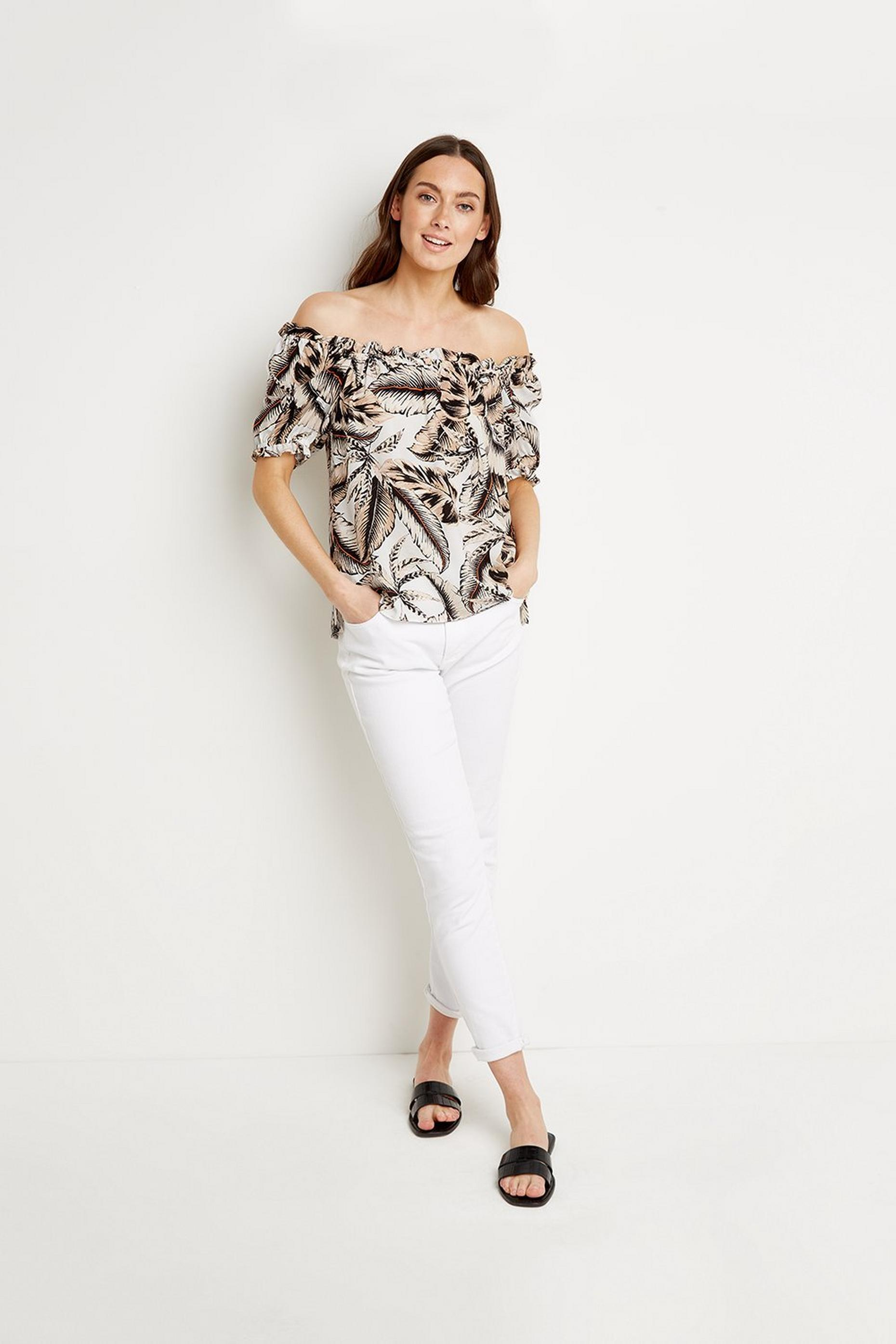 Palm Print Bardot Top