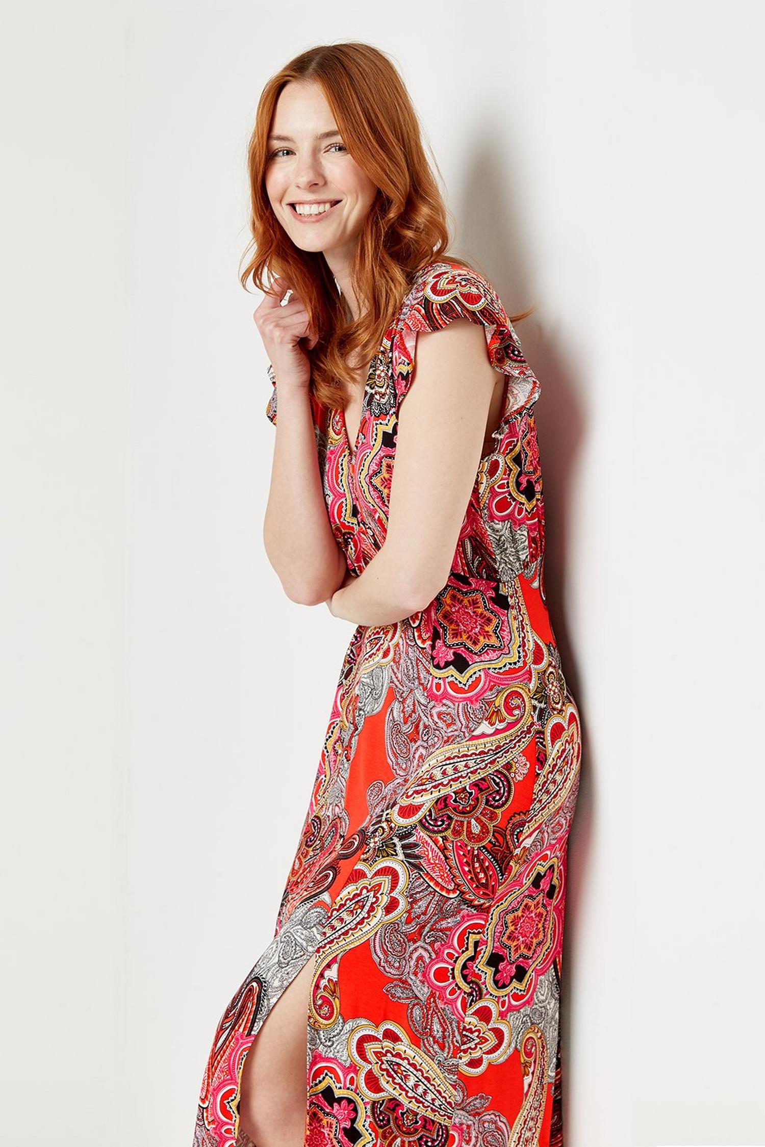 157 Red Pop Paisley Jersey Midi Dress  image number 1