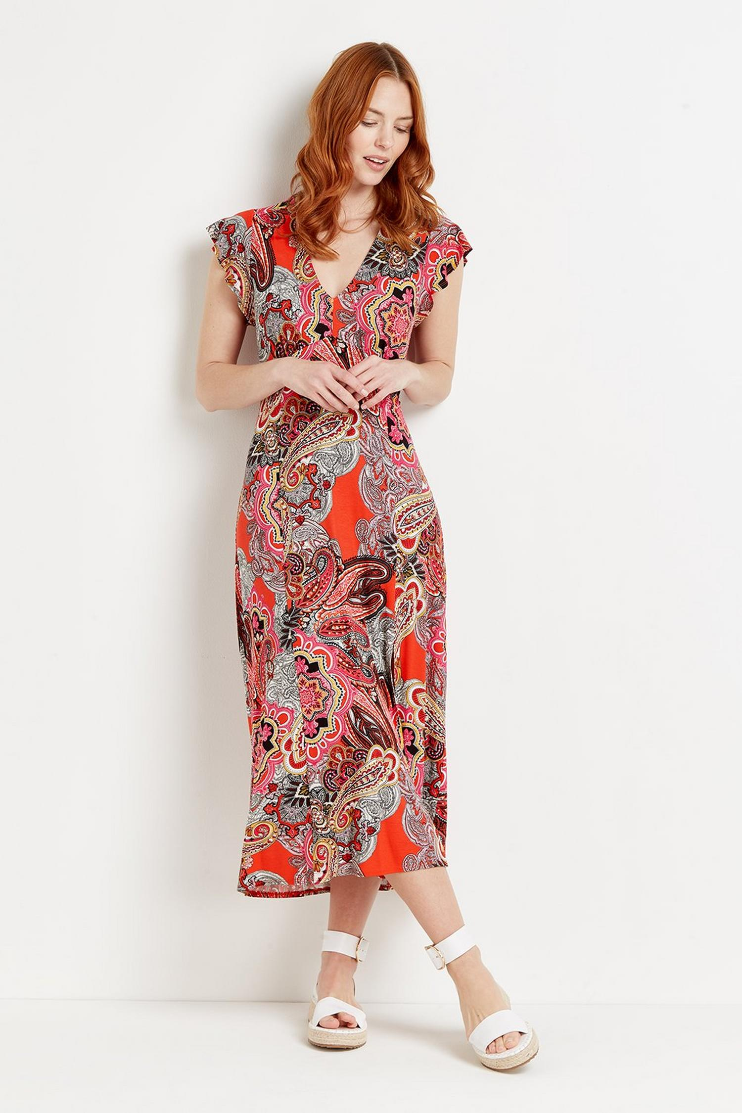 157 Red Pop Paisley Jersey Midi Dress  image number 2