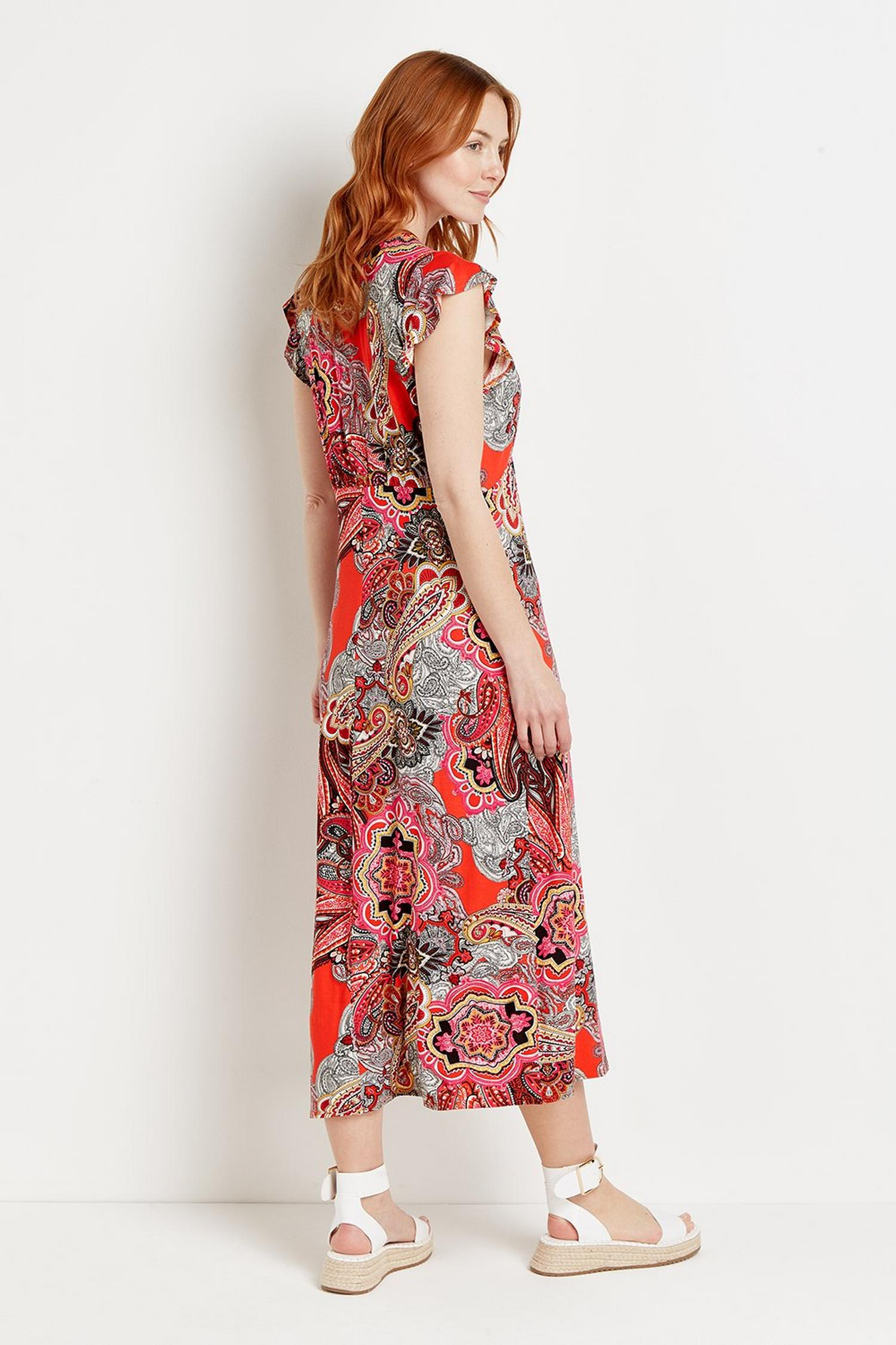 157 Red Pop Paisley Jersey Midi Dress  image number 3