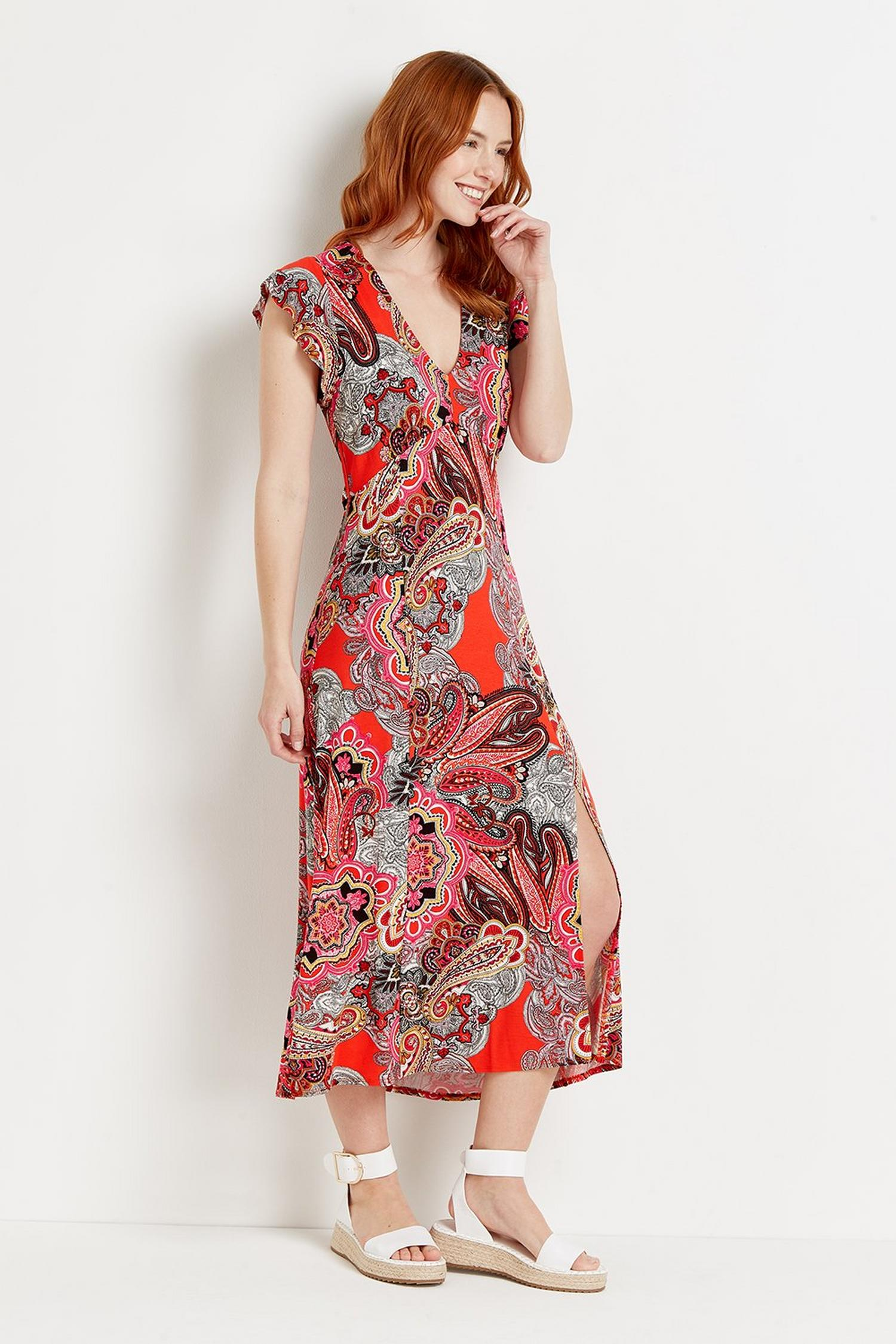 157 Red Pop Paisley Jersey Midi Dress  image number 4