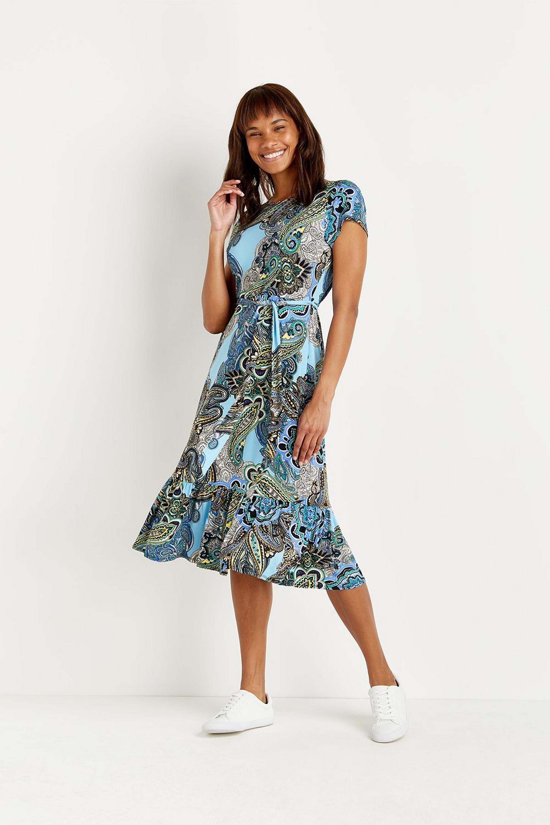 Petite Blue Paisley Tiered Jersey Midi Dress