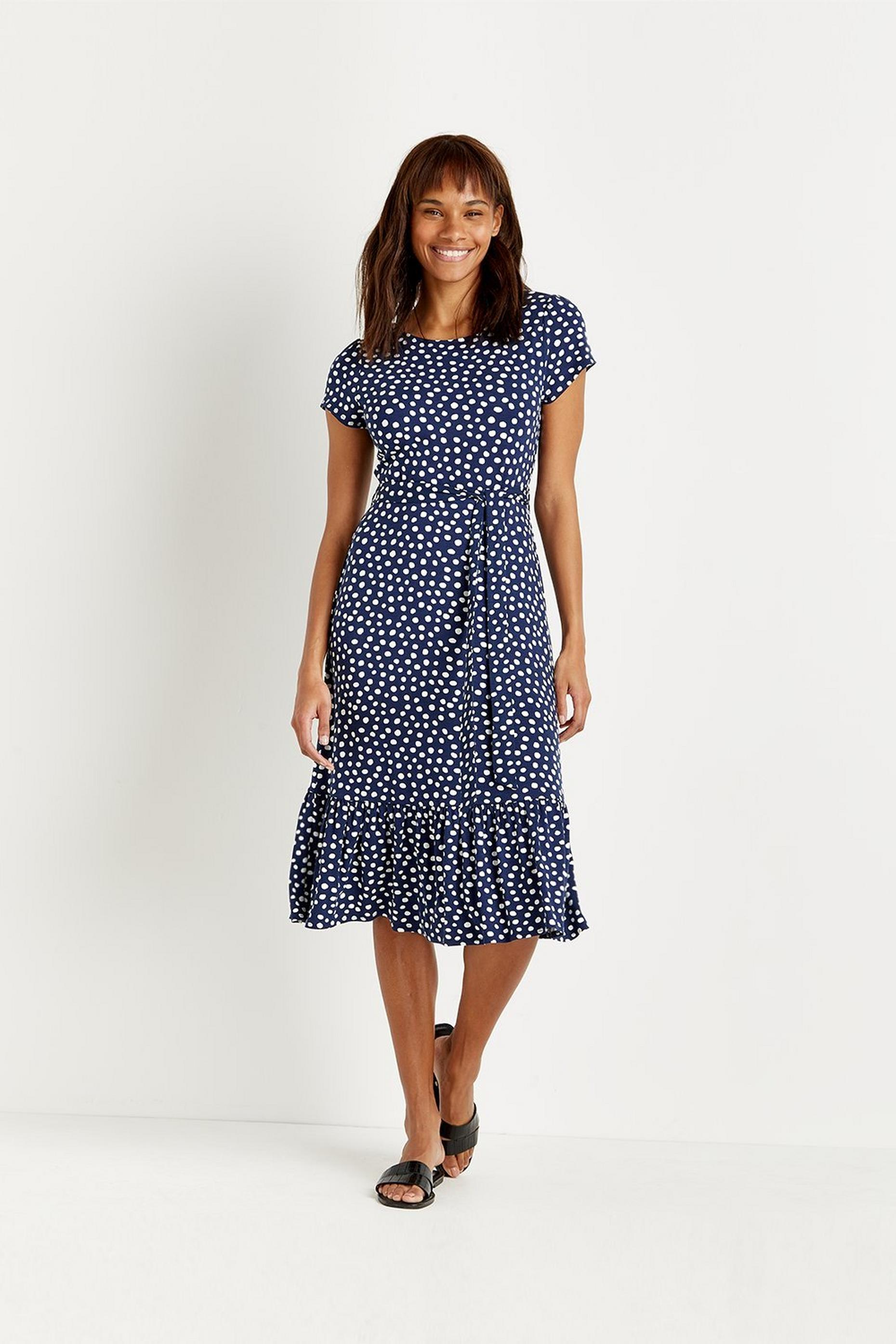 Petites Navy Spot Tiered Jersey Midi Dress