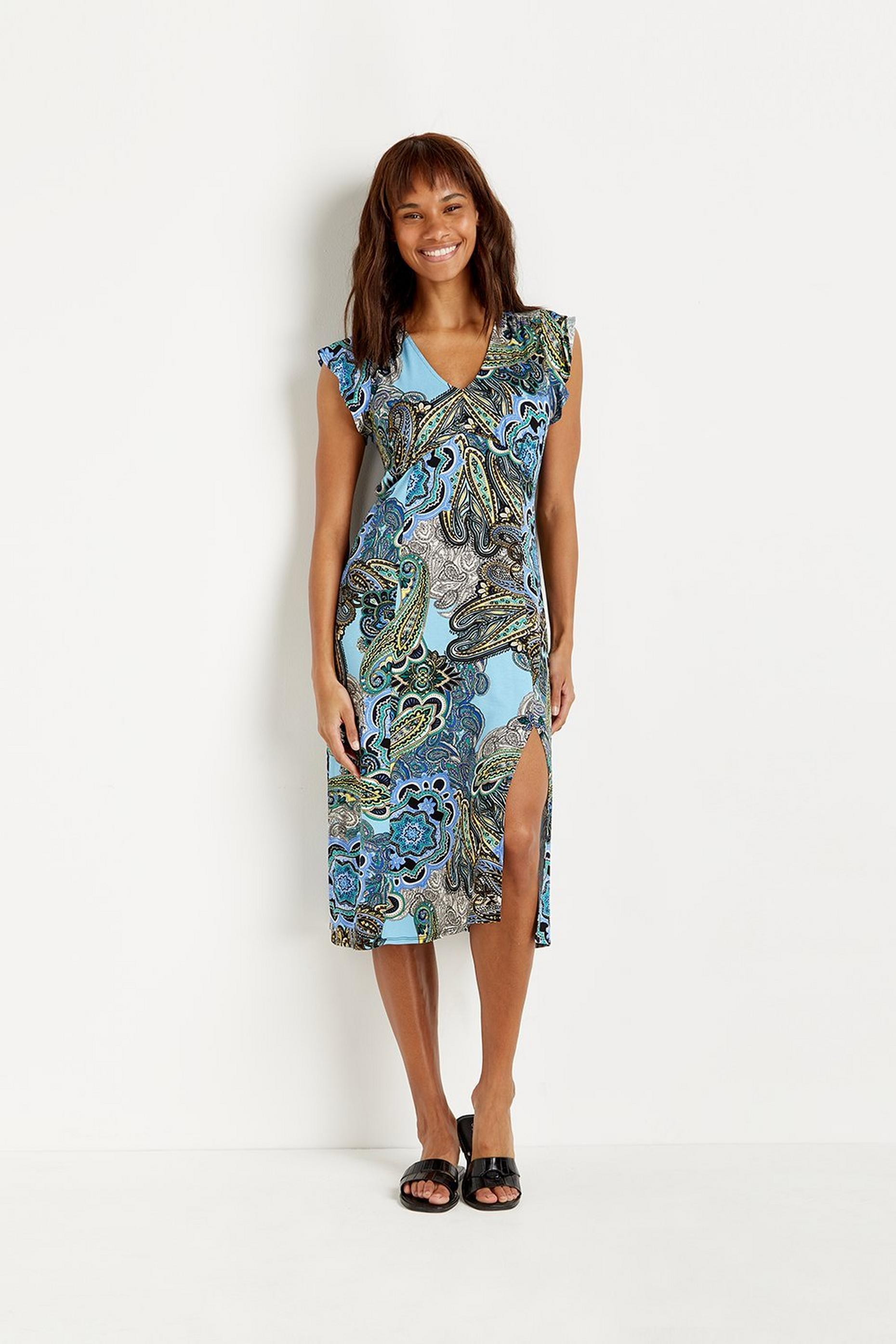 Petites Blue Paisley Jersey Midi Dress