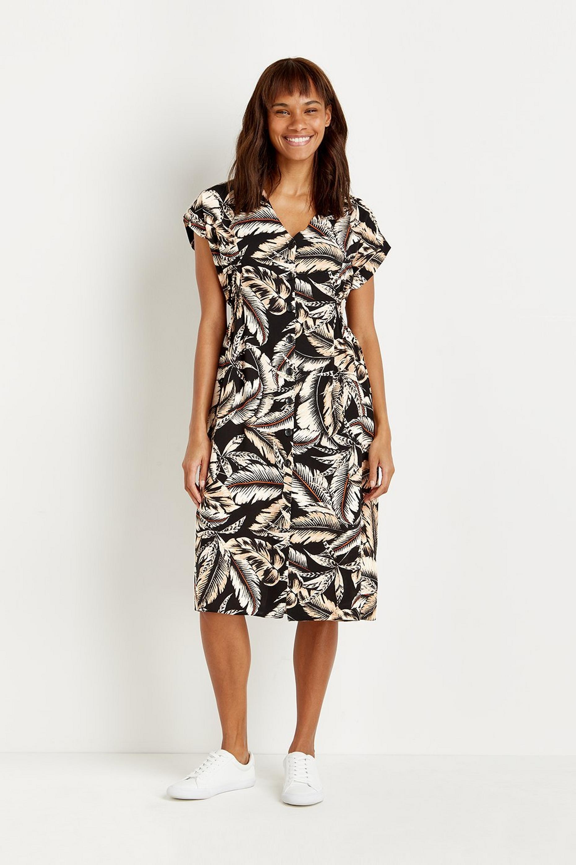 Petites Palm Print Button Through Midi Dress