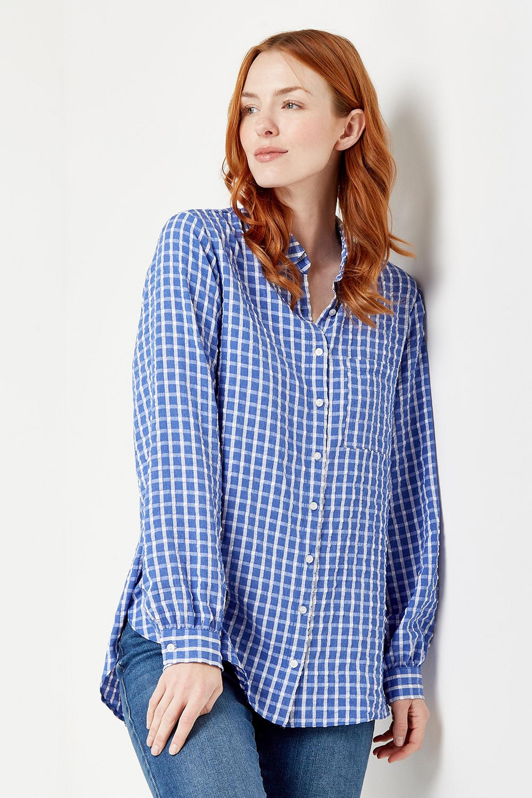 Blue Gingham Longline Shirt