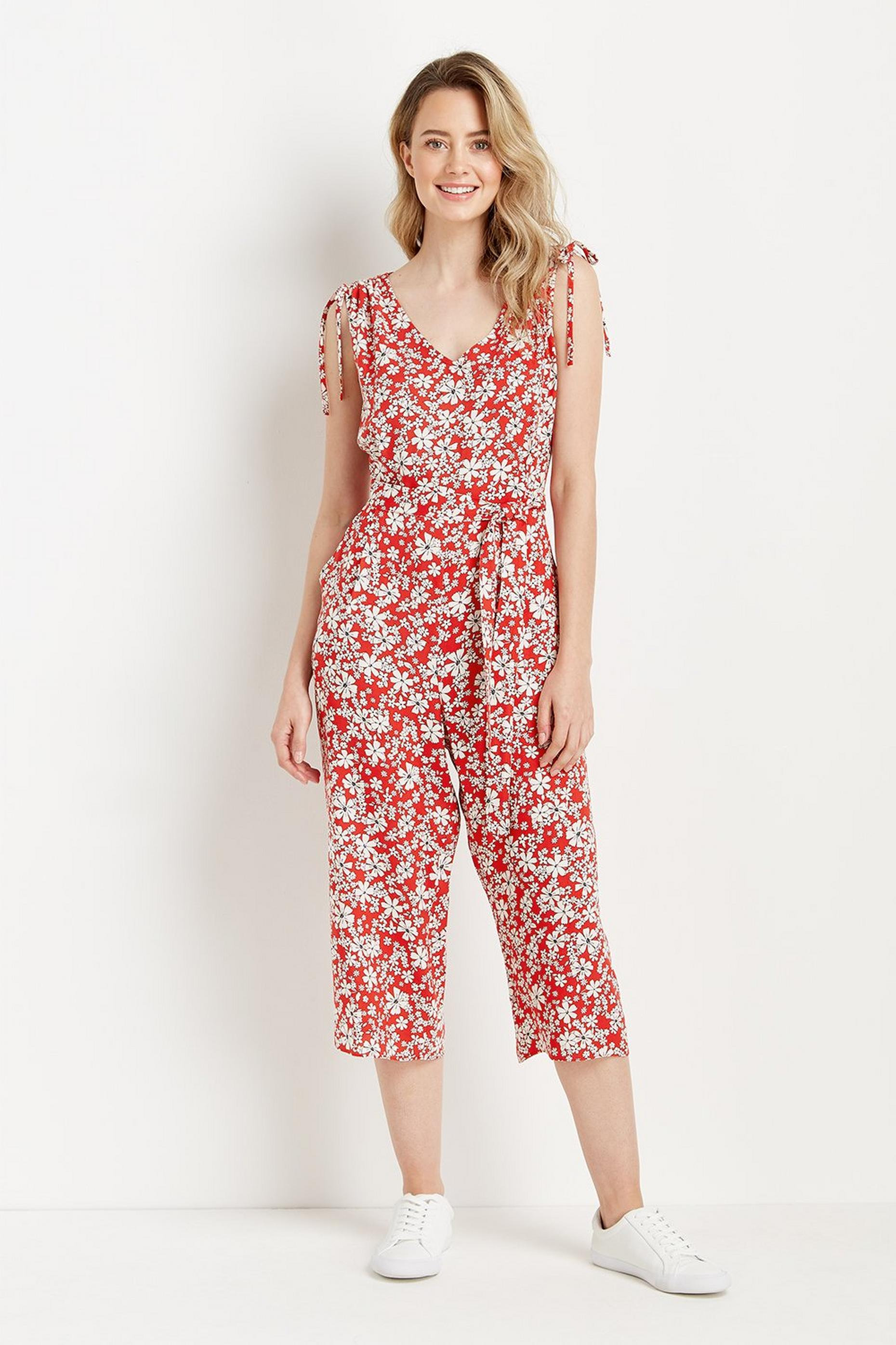 Petite Red Ditsy Tie Shoulder Jumpsuit