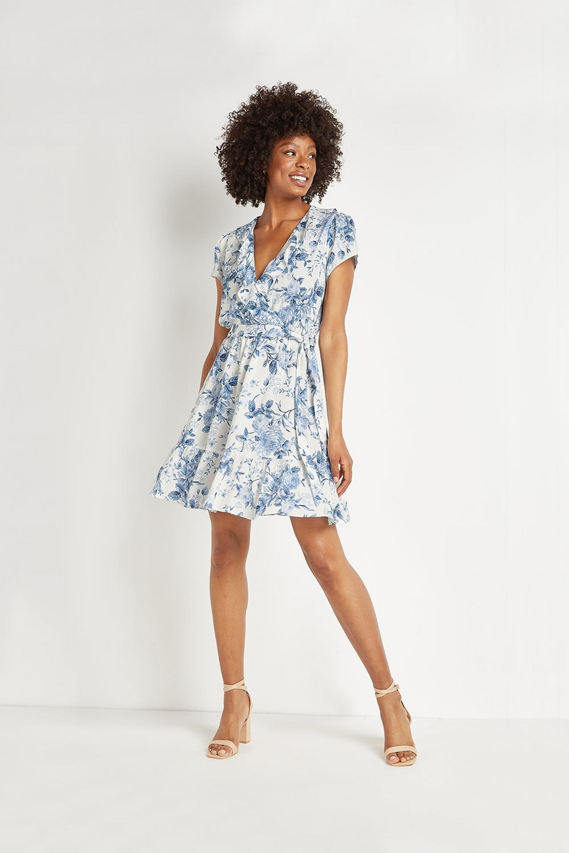 Blue Floral Ruffle Skater Dress