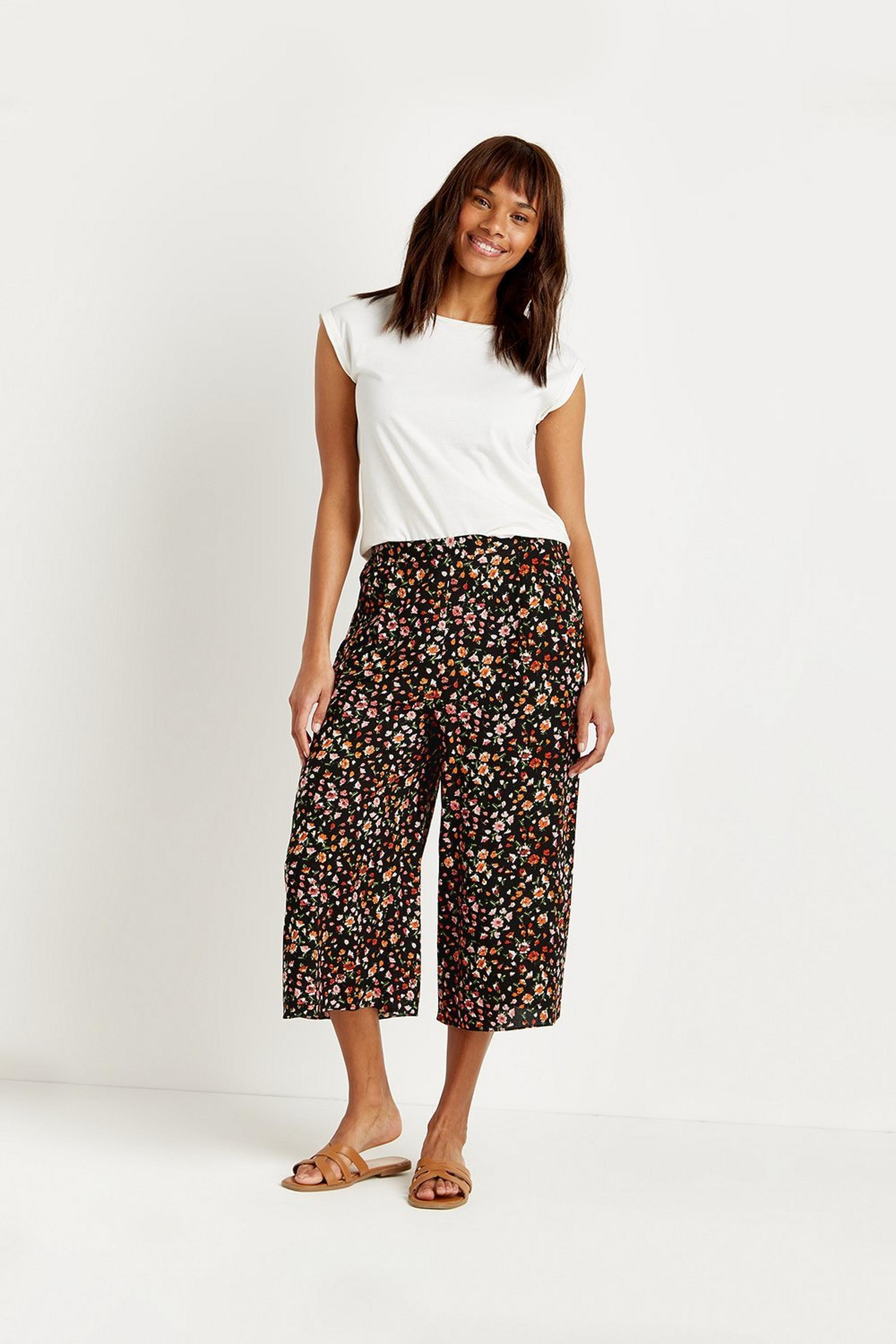 Petite Ditsy Cropped Wide Trouser
