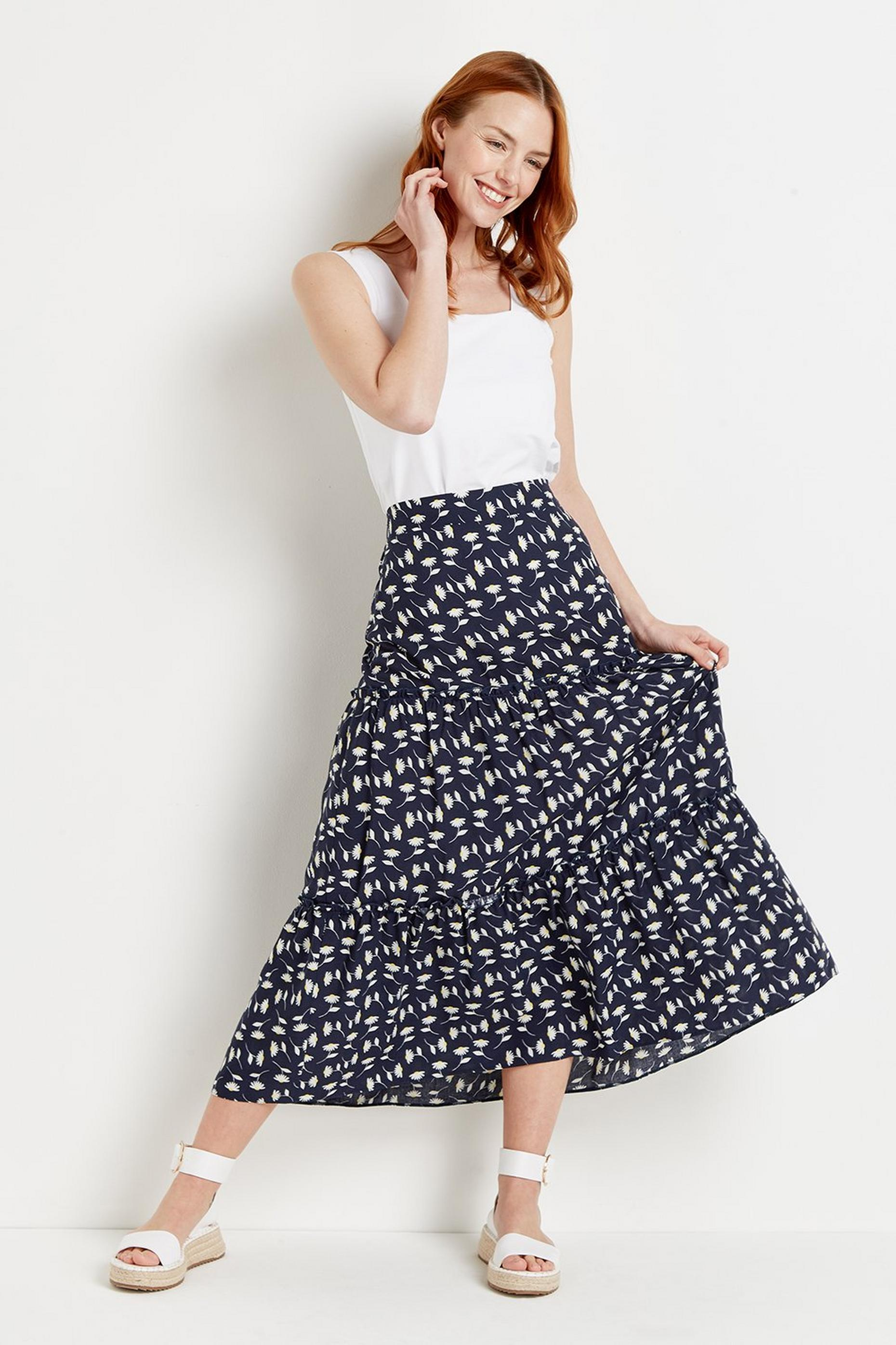 Navy Daisy Tiered Midi Skirt