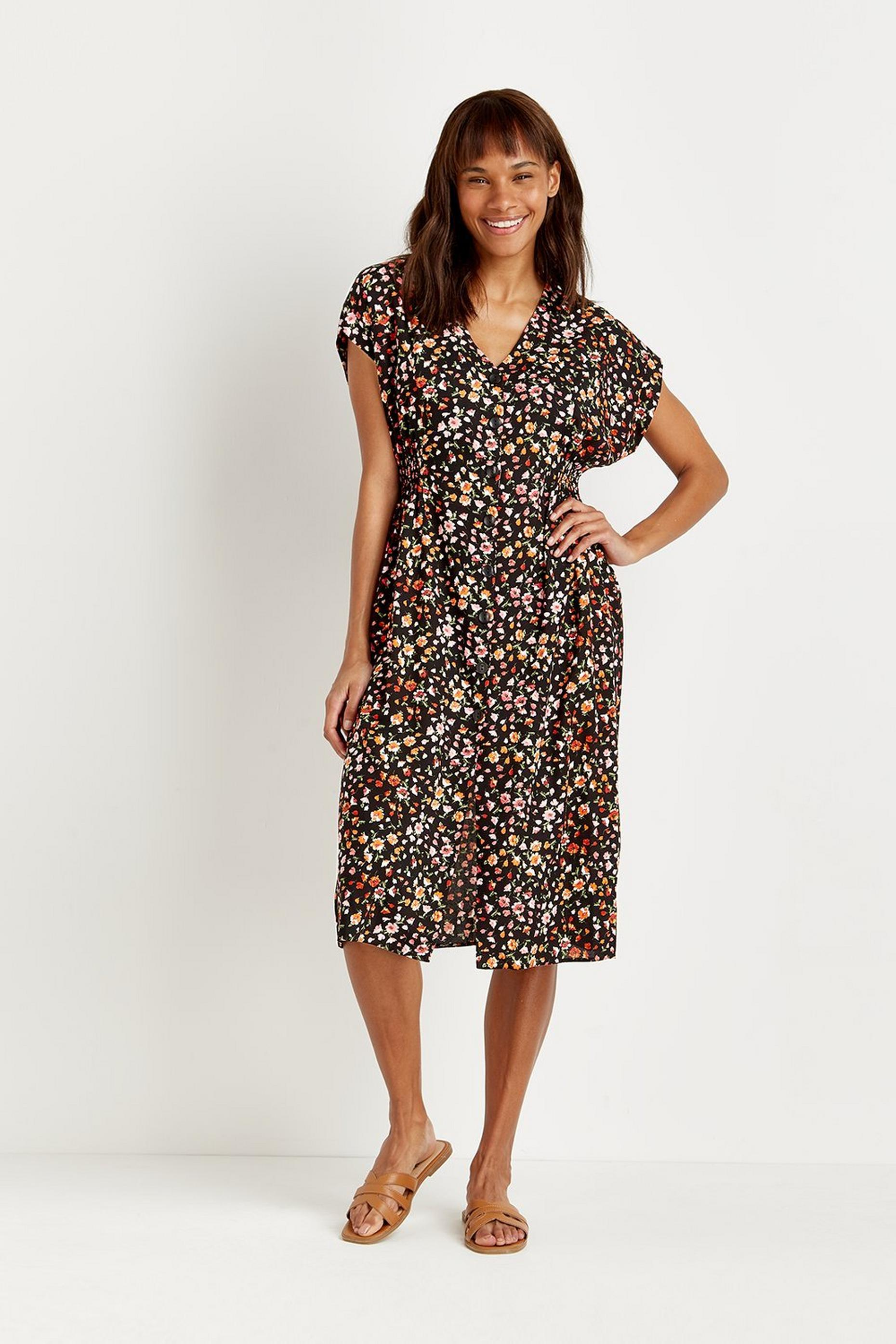 Petites Spring Ditsy Button Midi Dress