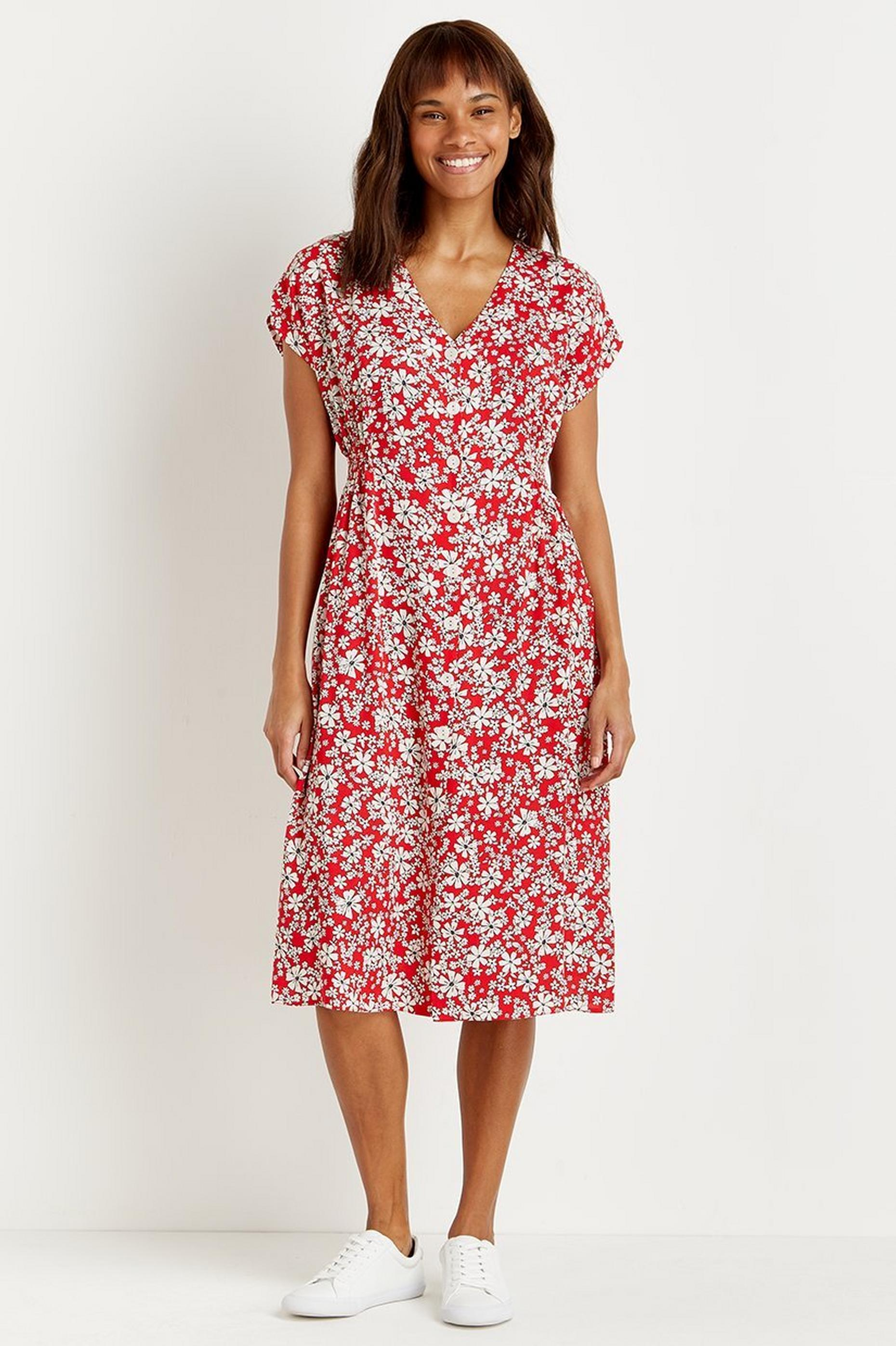 Petite Red Daisy Button Through Midi Dress