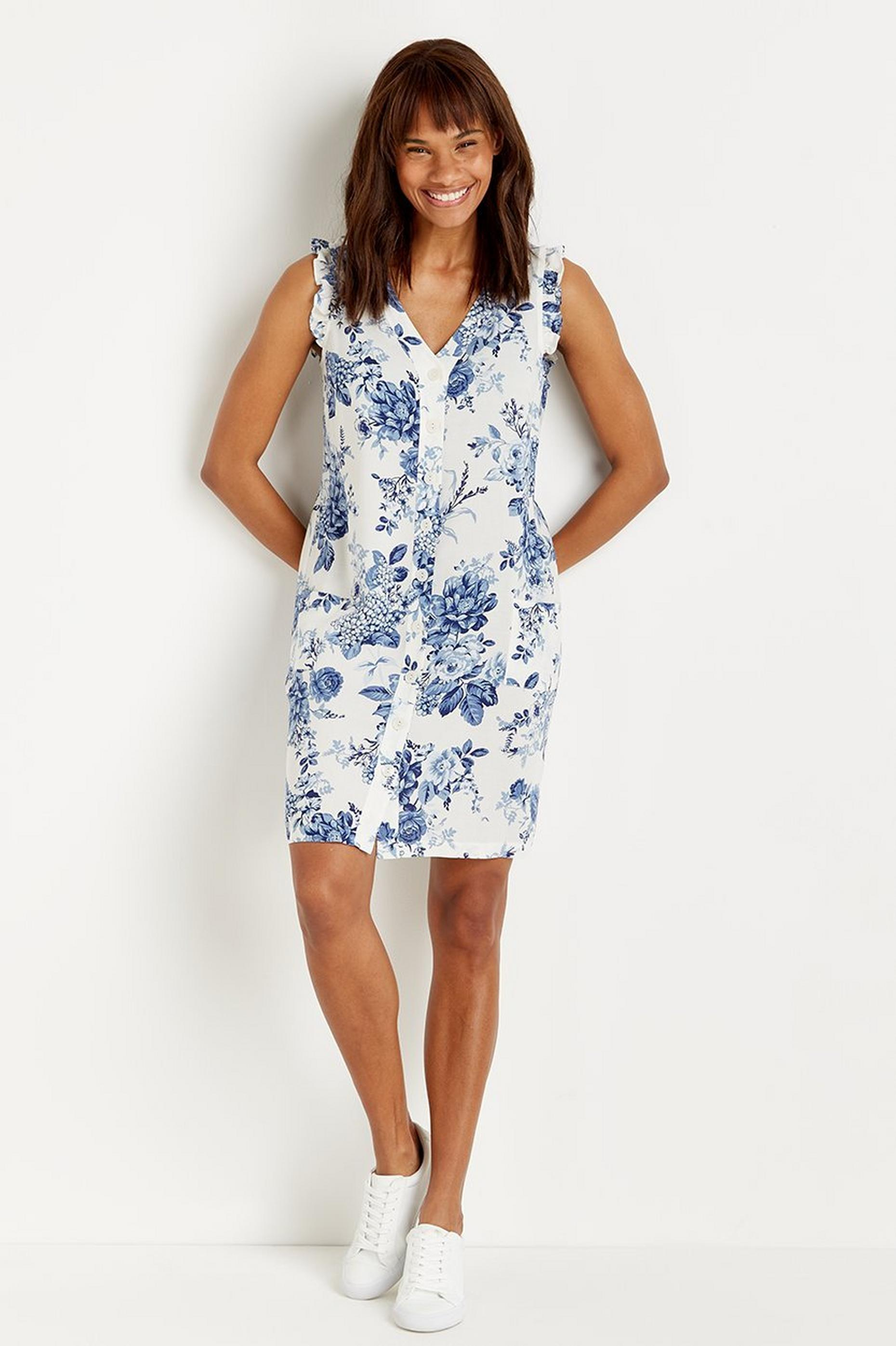 Blue Floral Button Through Shift Dress