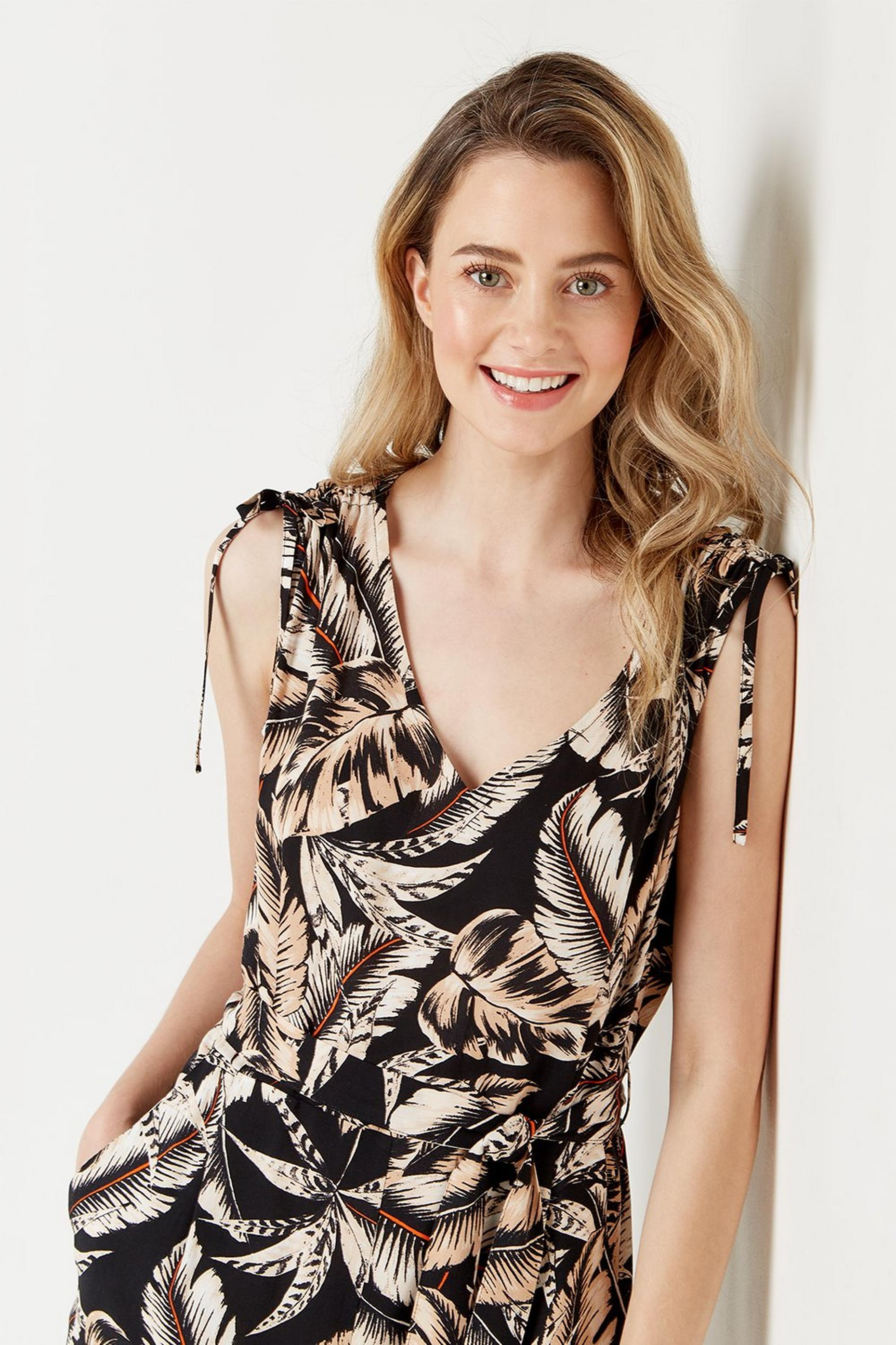 Petites Palm Print Tie Shoulder Jumpsuit