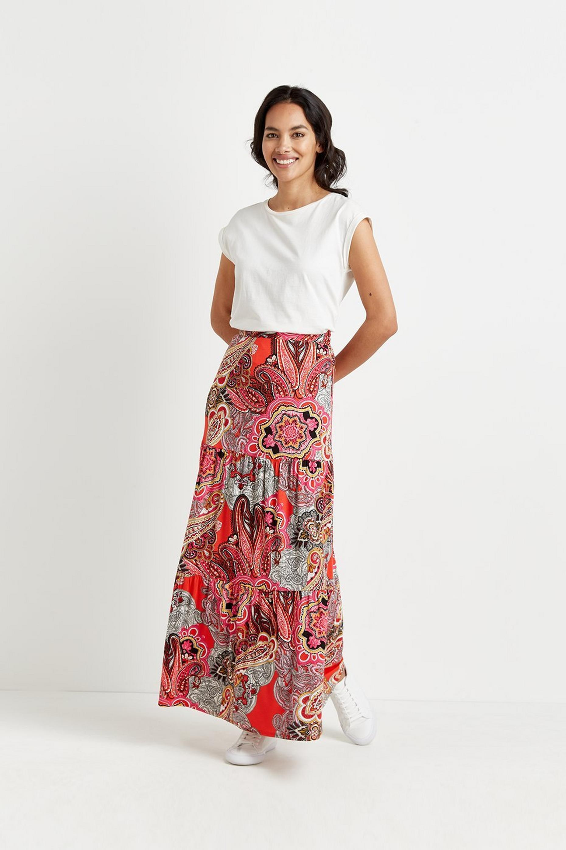 Red Paisley Jersey Maxi Skirt