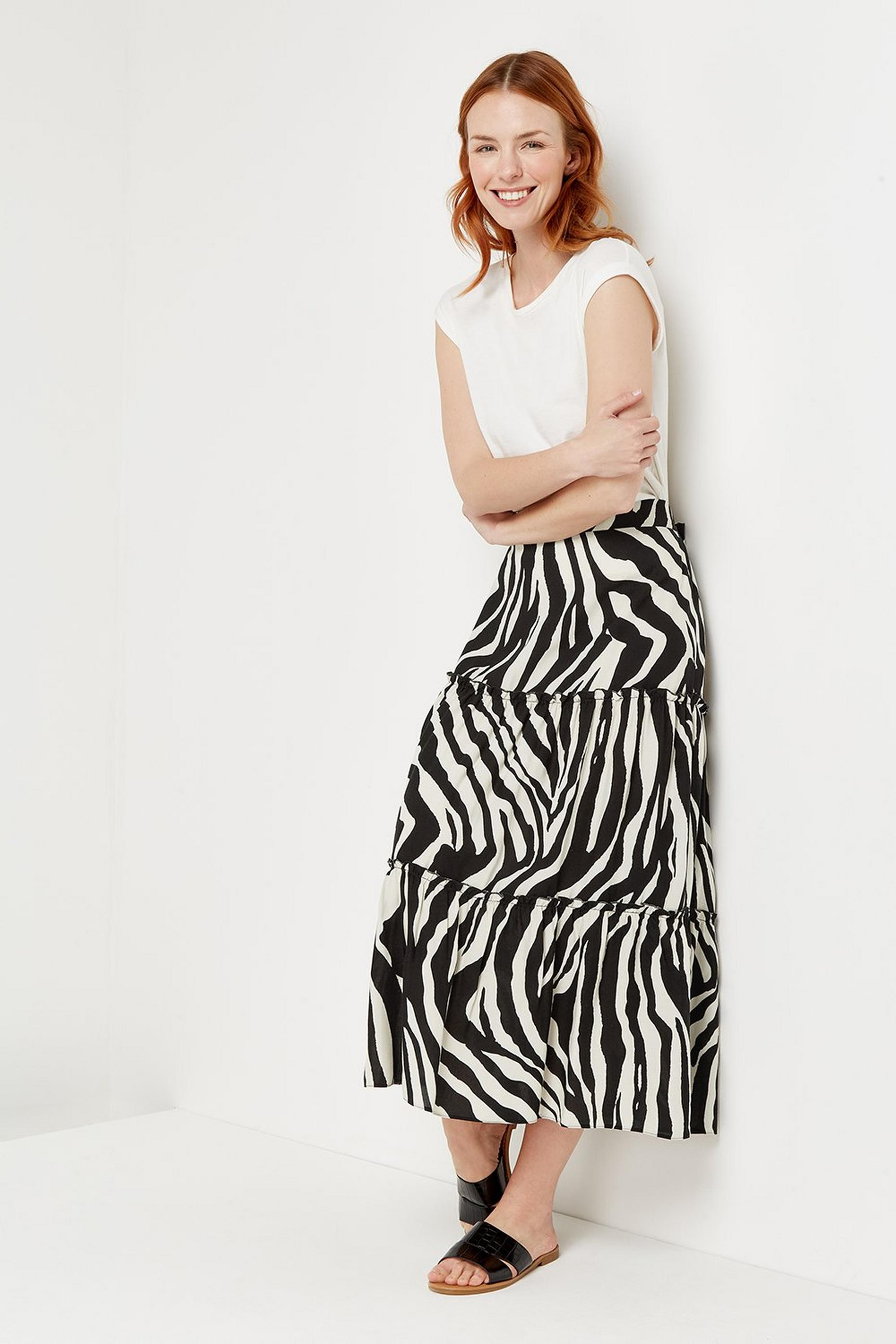 Zebra Tiered Midi Skirt
