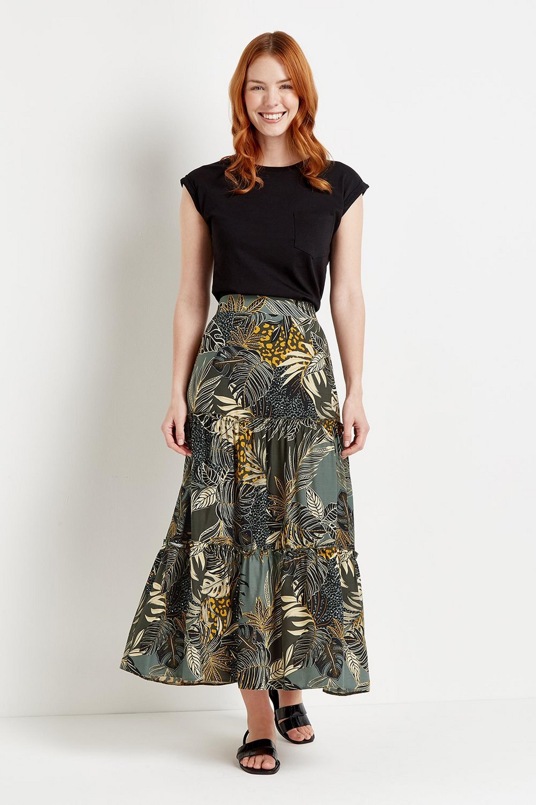 Khaki Palm Tiered Midi Skirt