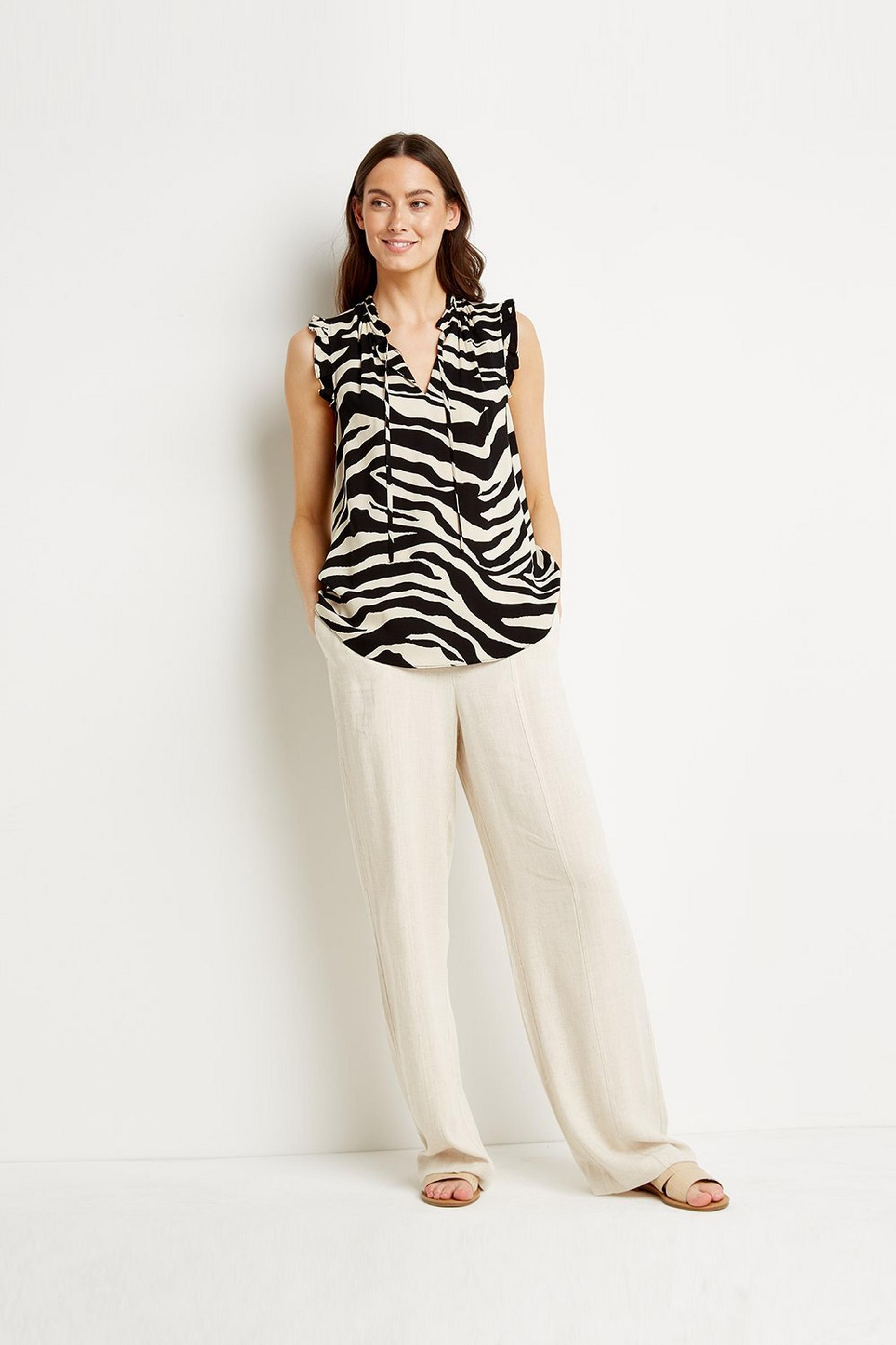 Zebra Tie Neck Sleeveless Blouse