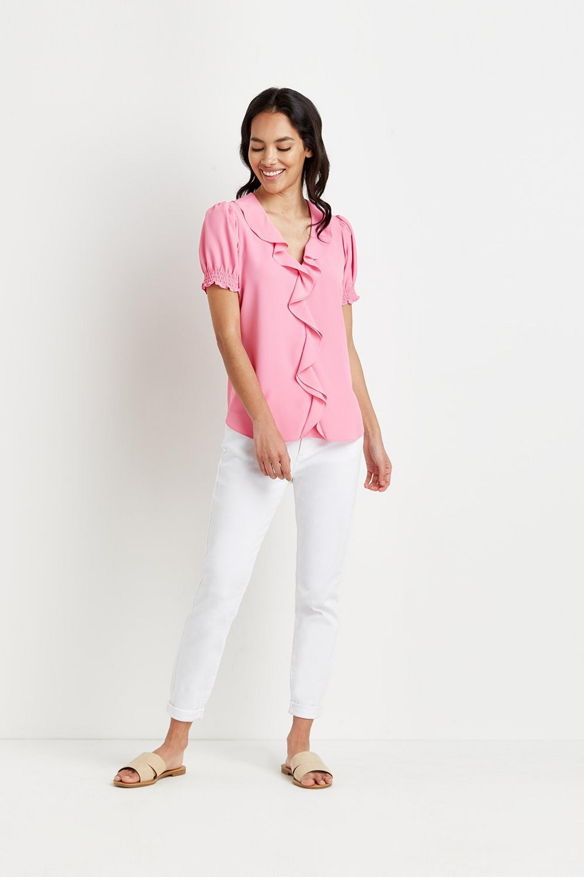 Petite Ruffle Front Puff Sleeve Top