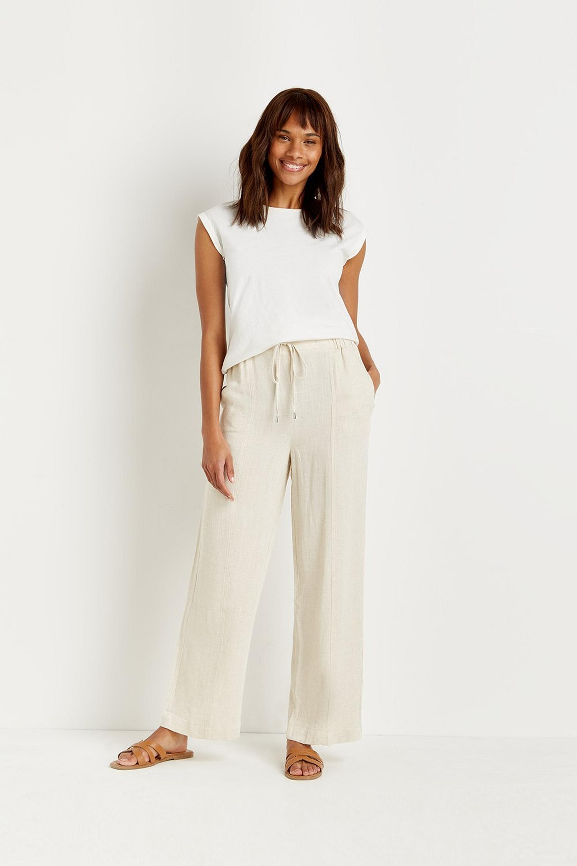 Linen-look Wide Leg Trouser