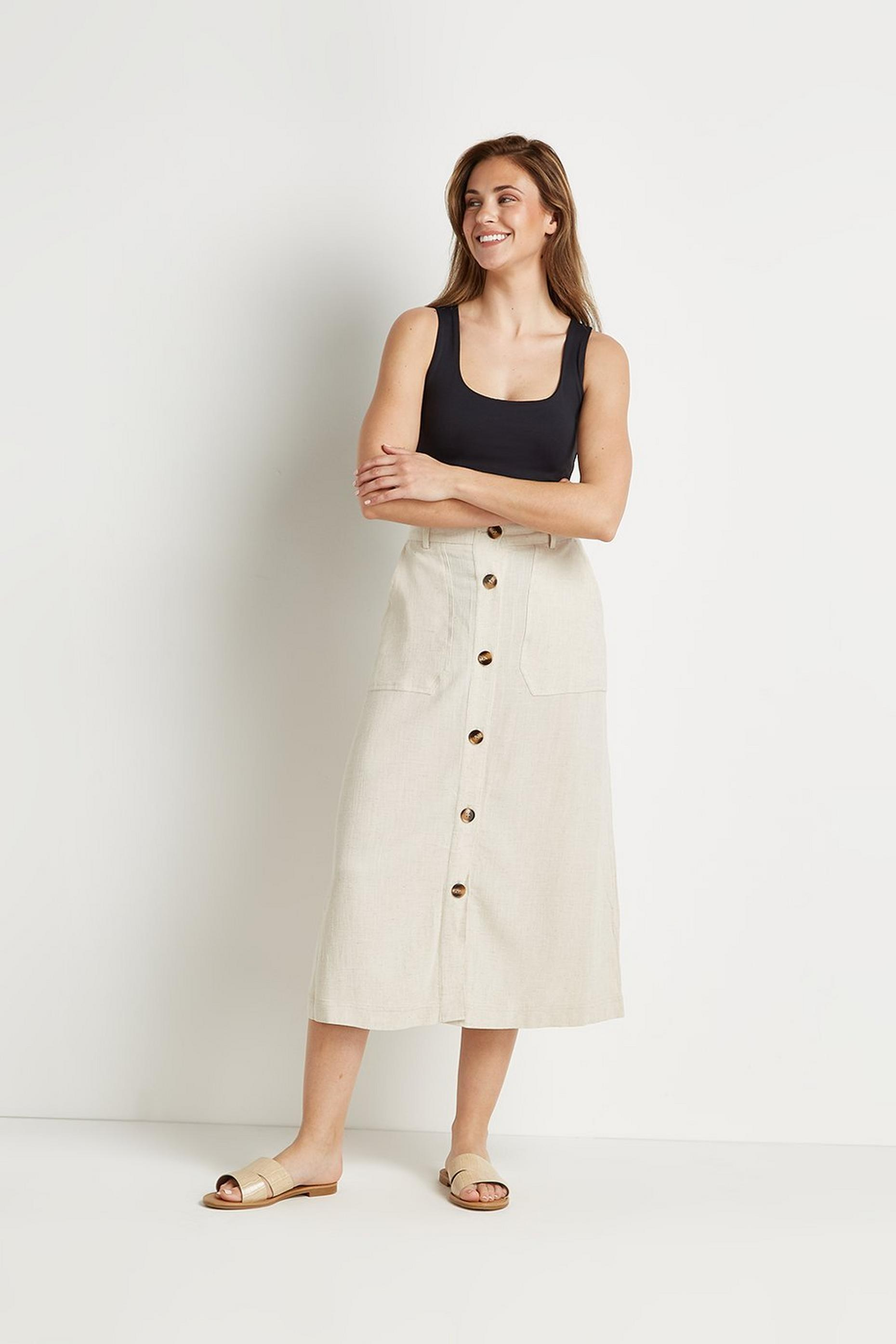 Tall Linen Look Button Through Skirt