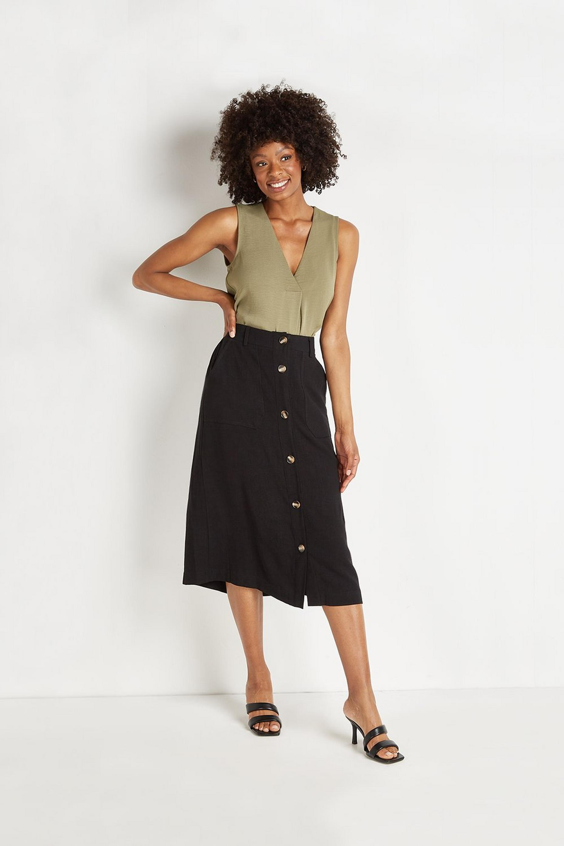 Linen Look Button Through Skirt