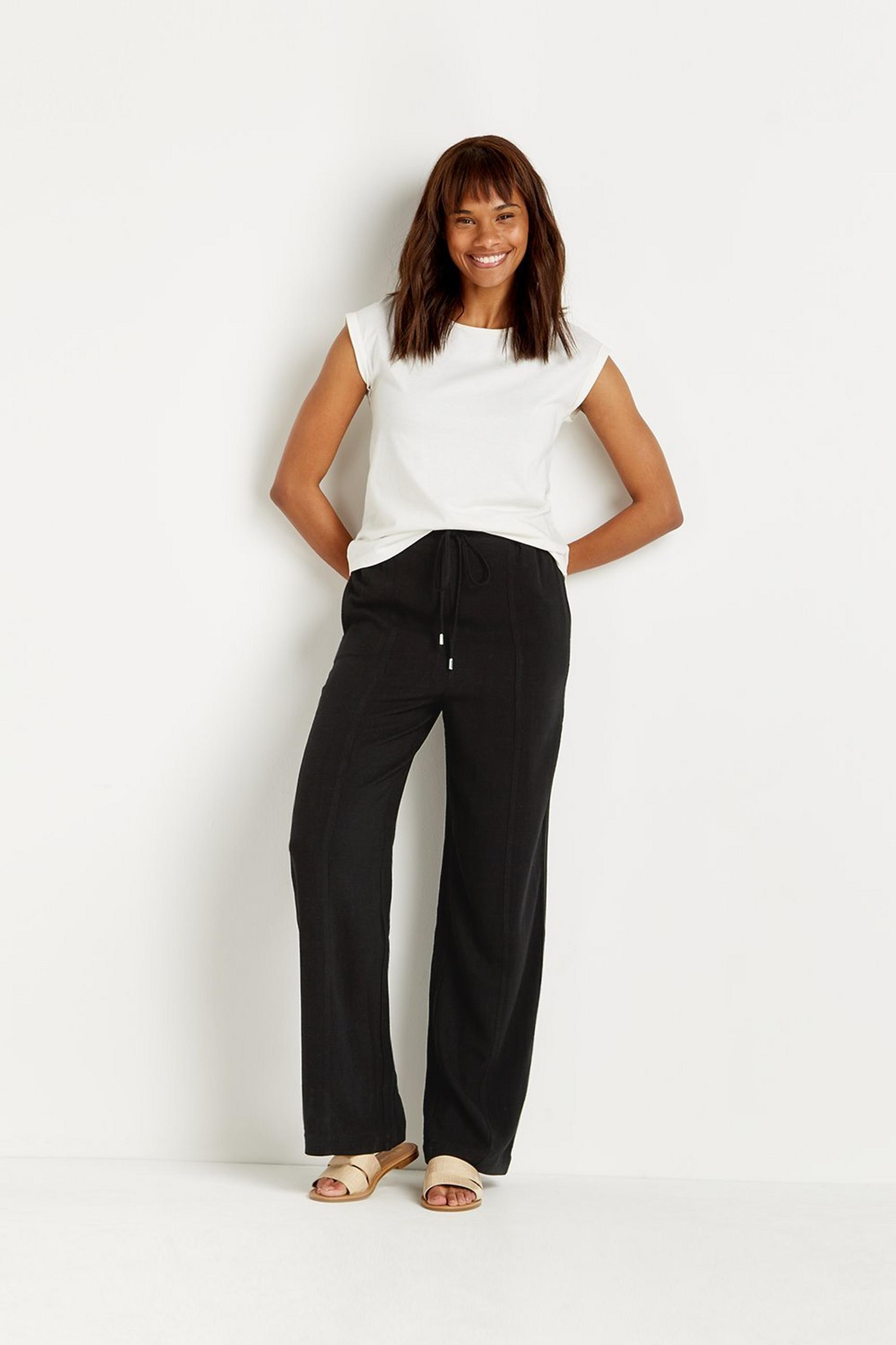 Tall Linen-look Wide Leg Trousers