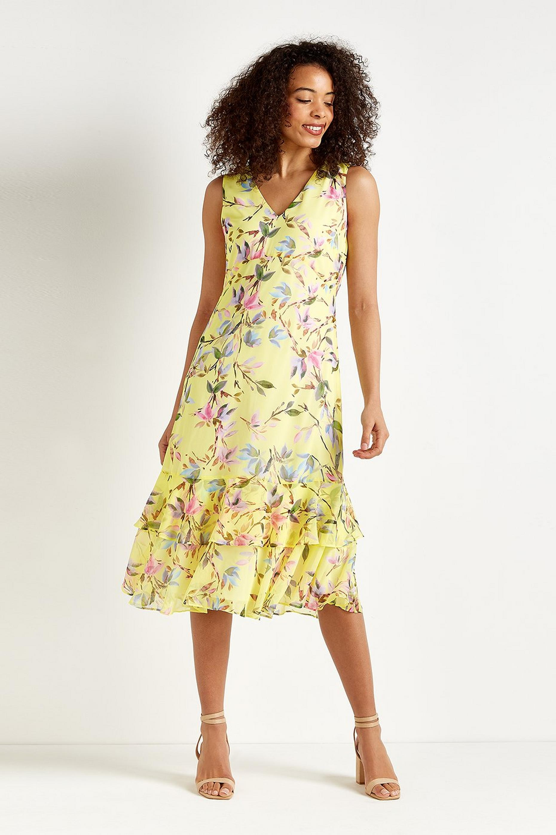 Lemon Floral Tiered Dress