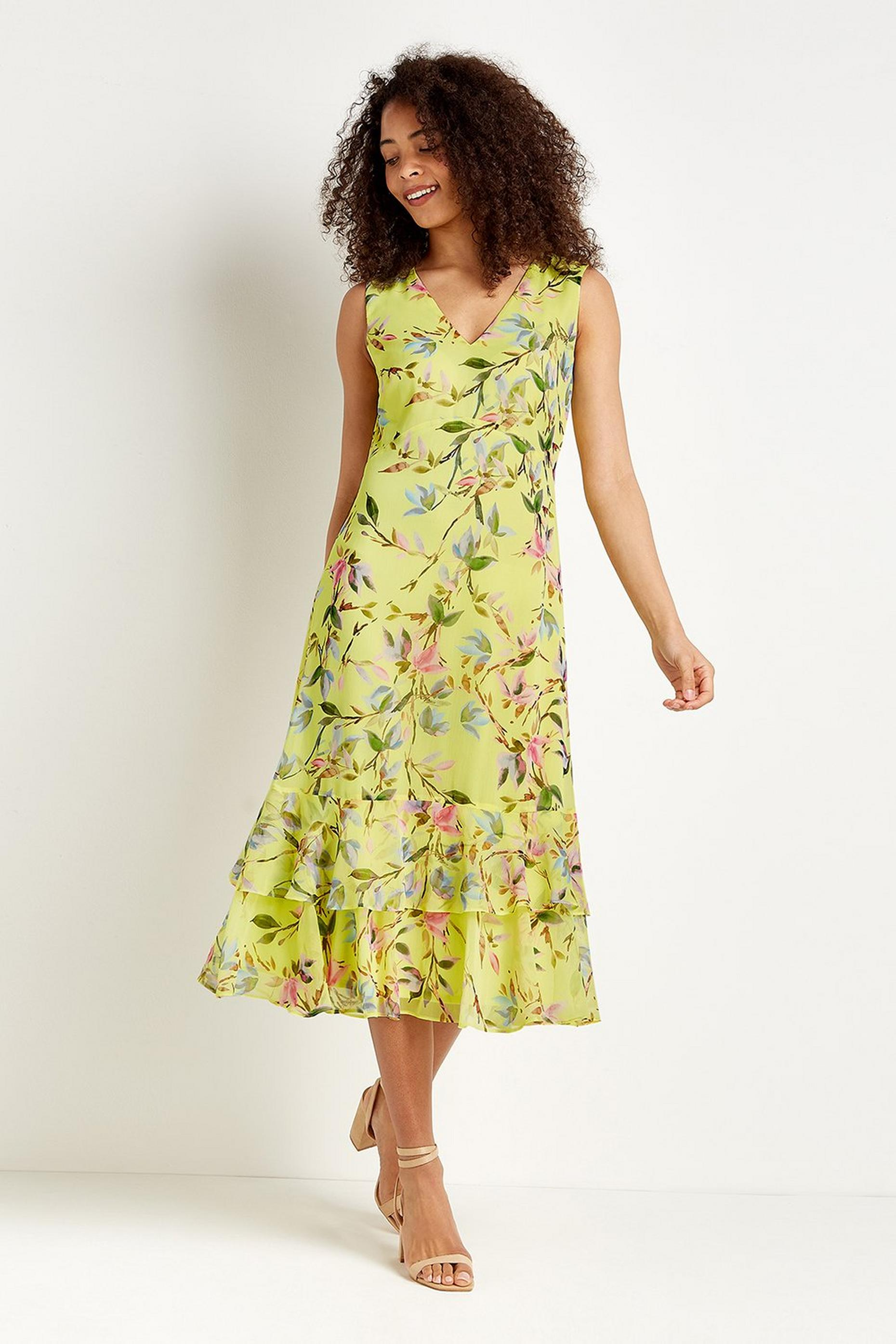 Tall Lemon Floral Tiered Dress
