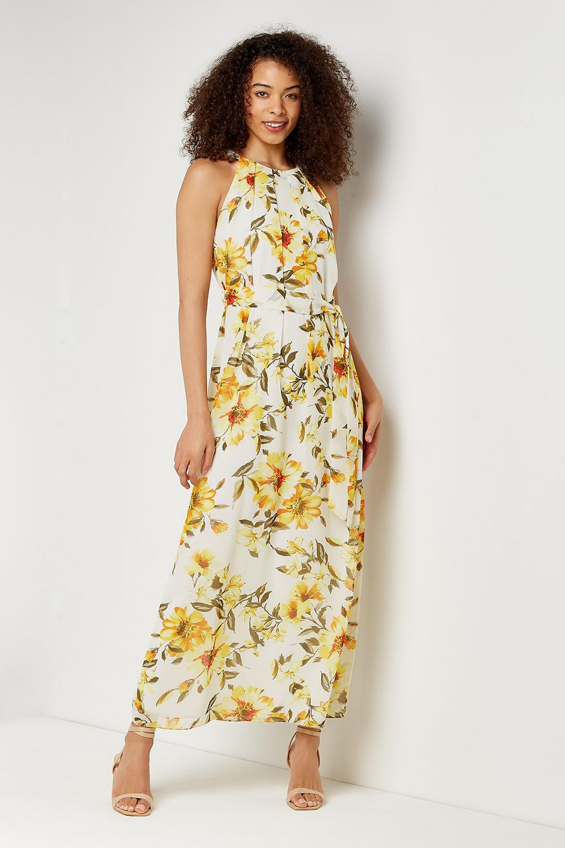 Tall Yellow Floral Pleated Maxi Dress