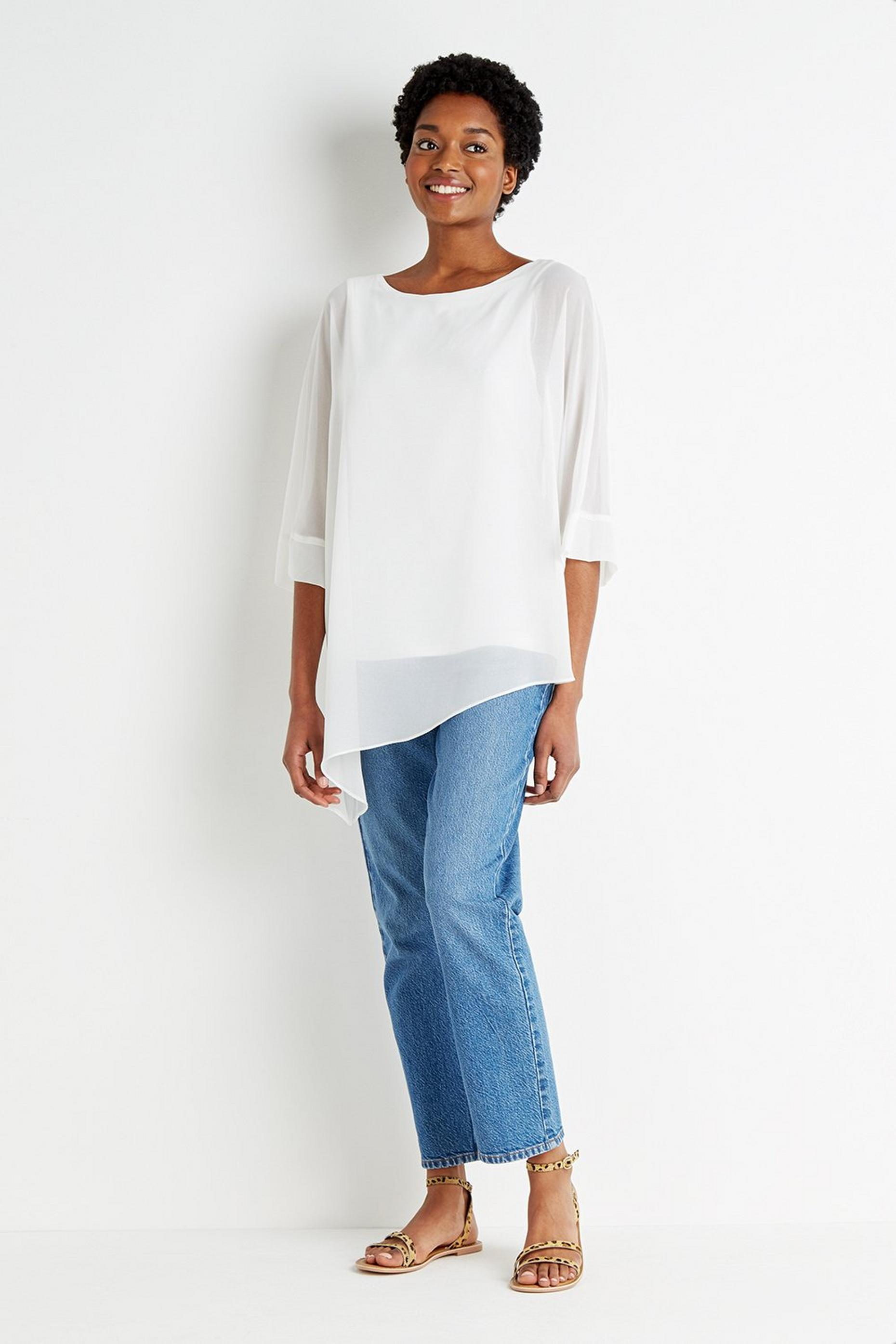 Tall Slash Neck Asymmetric Sheer Overlay Top