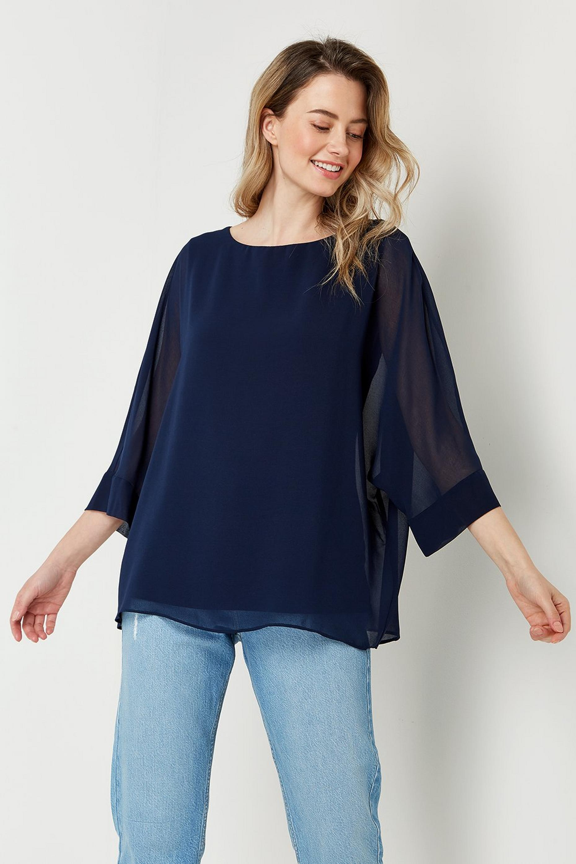 Slash Neck Sheer Overlay Top
