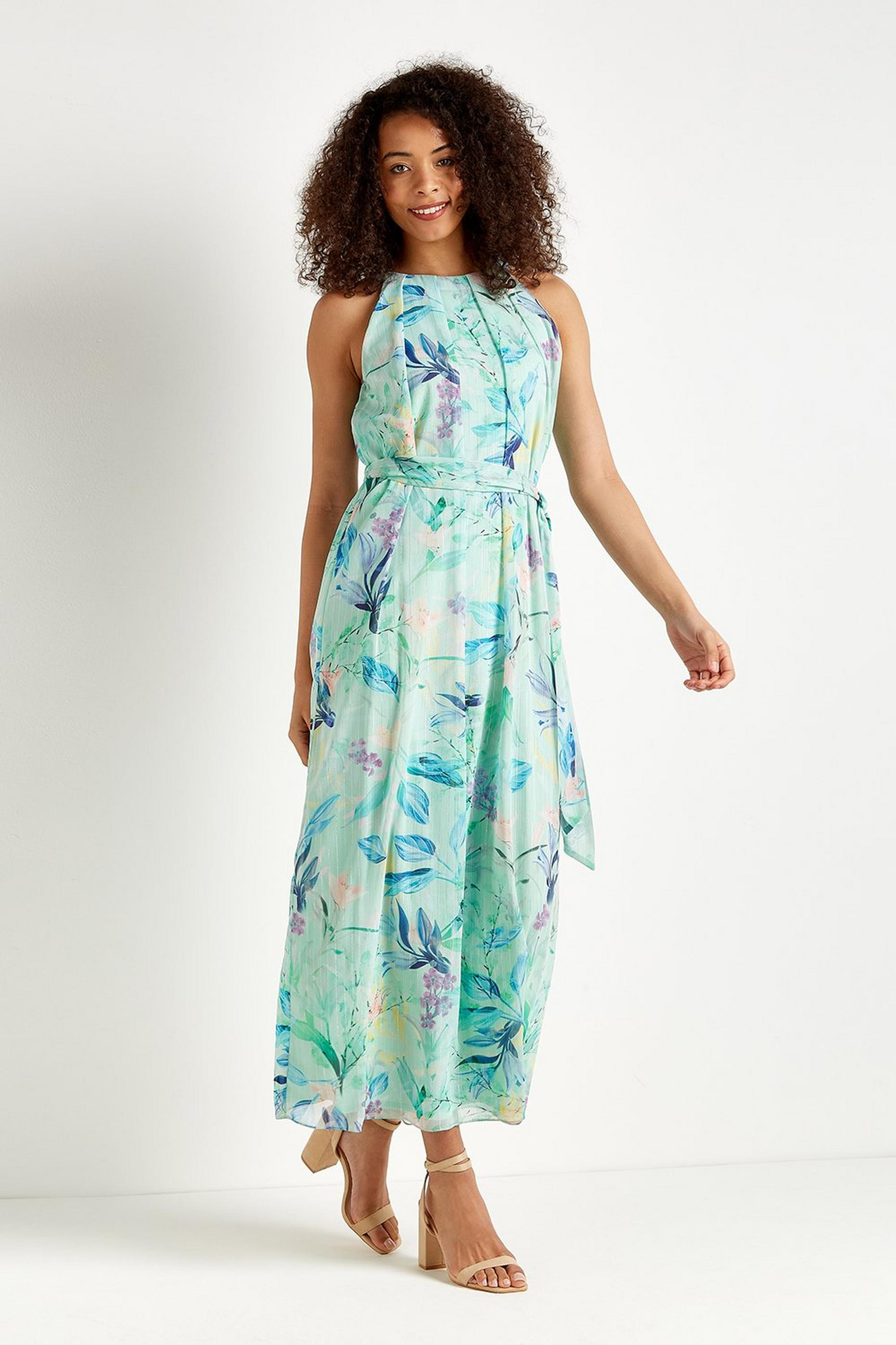 Mint Floral Metallic-fleck Maxi Dress