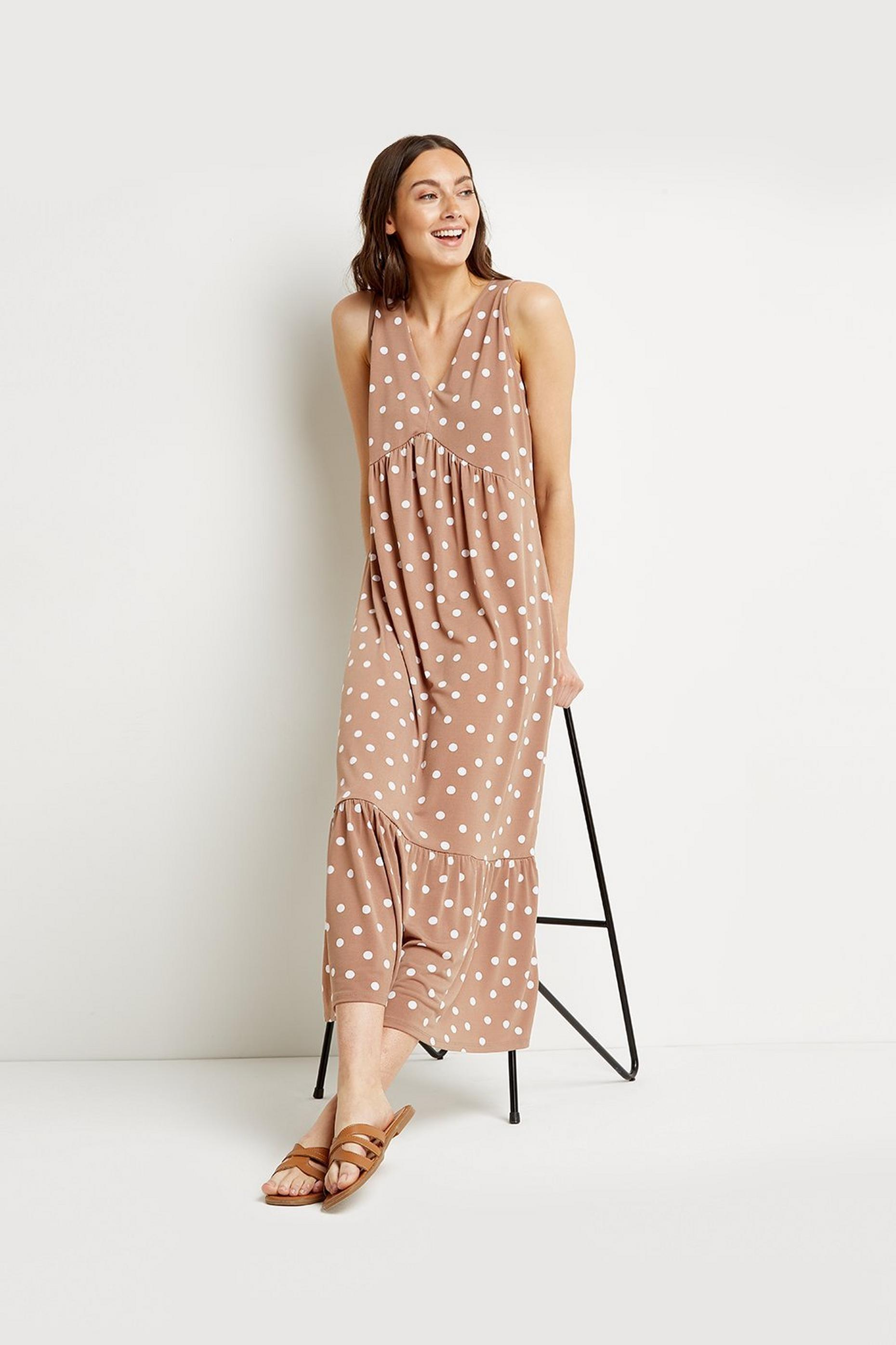 Tall Taupe Spot Jersey Sundress