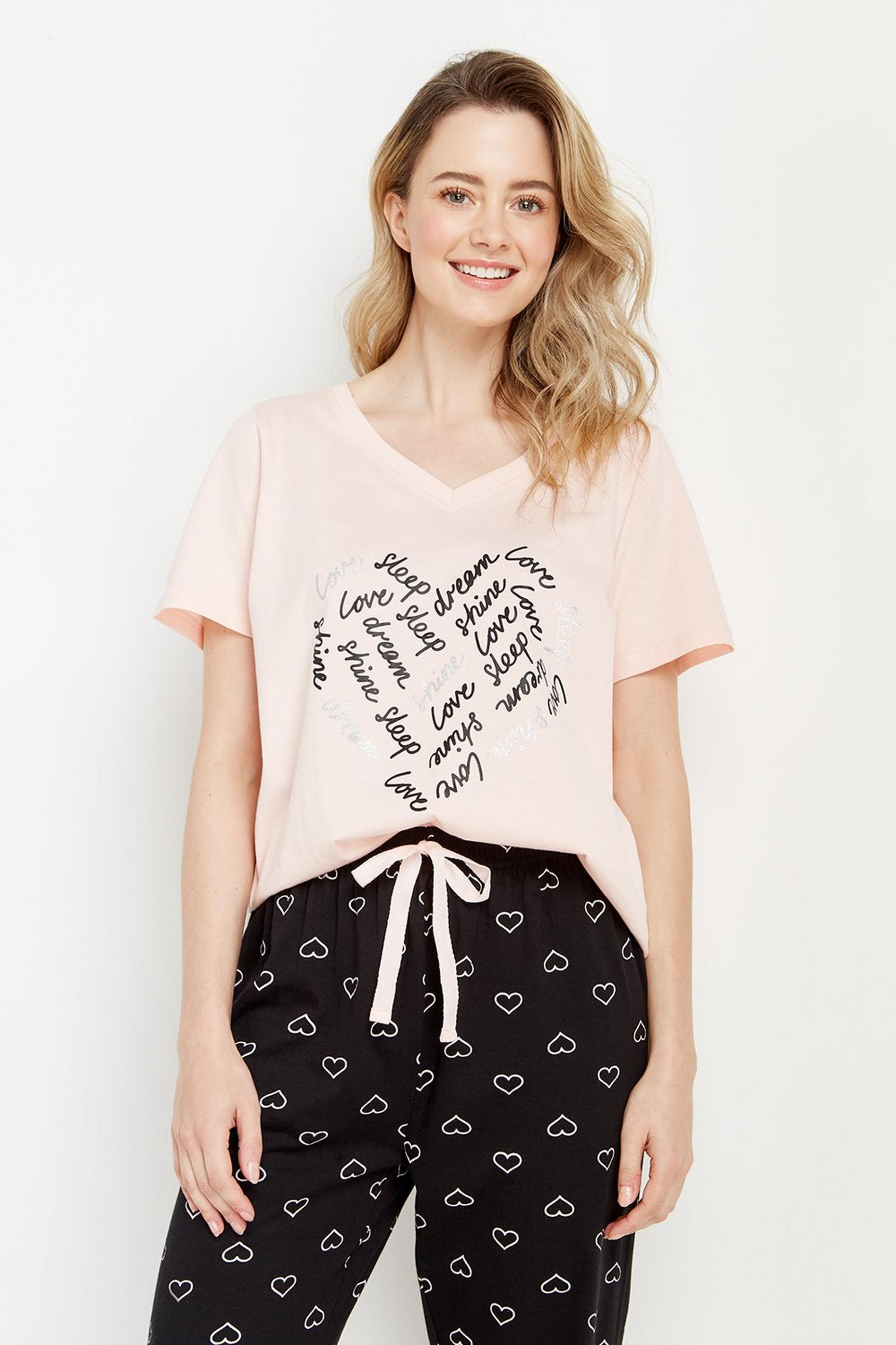 Heart T-shirt Pj Set