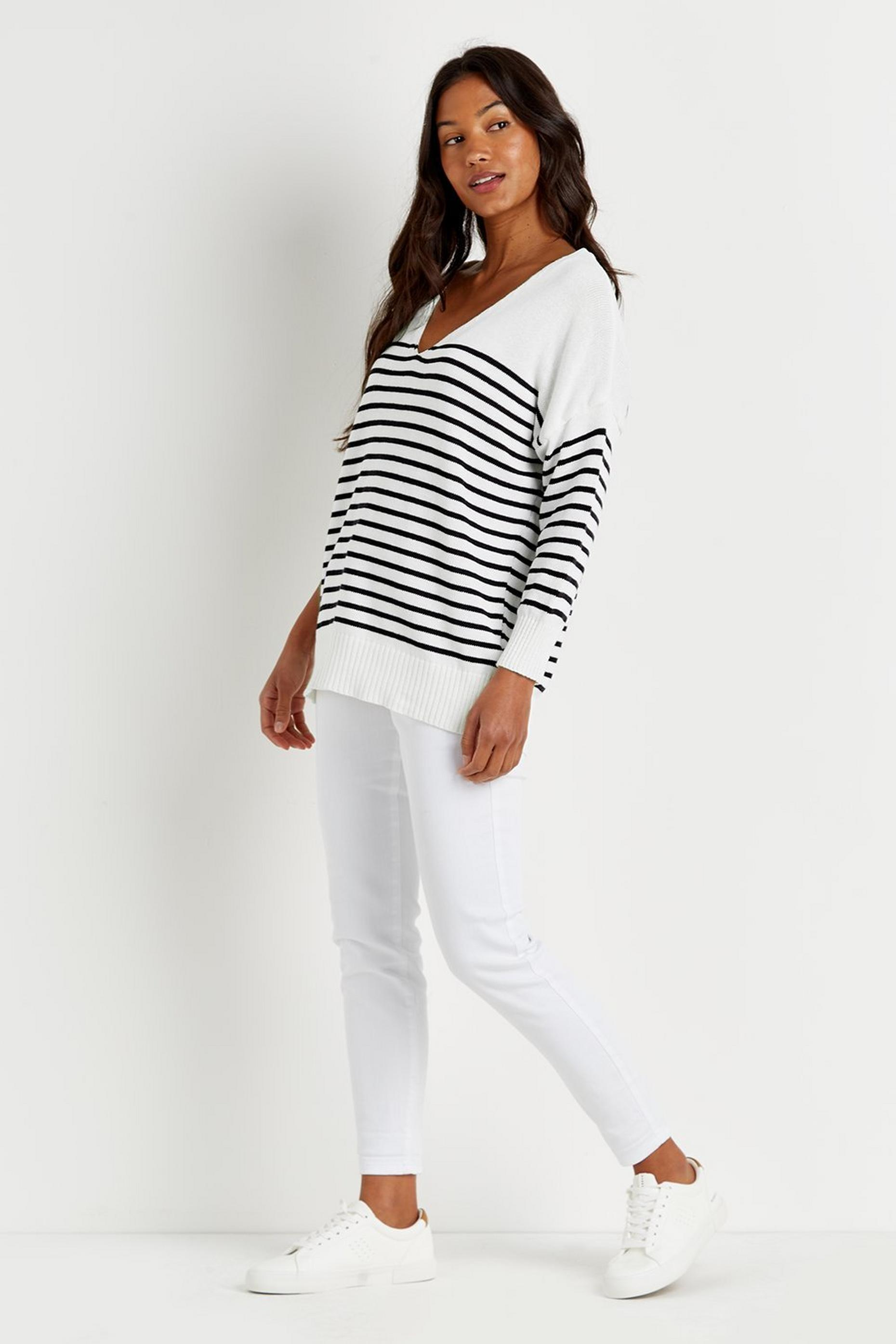 Stripe V Neck Jumper