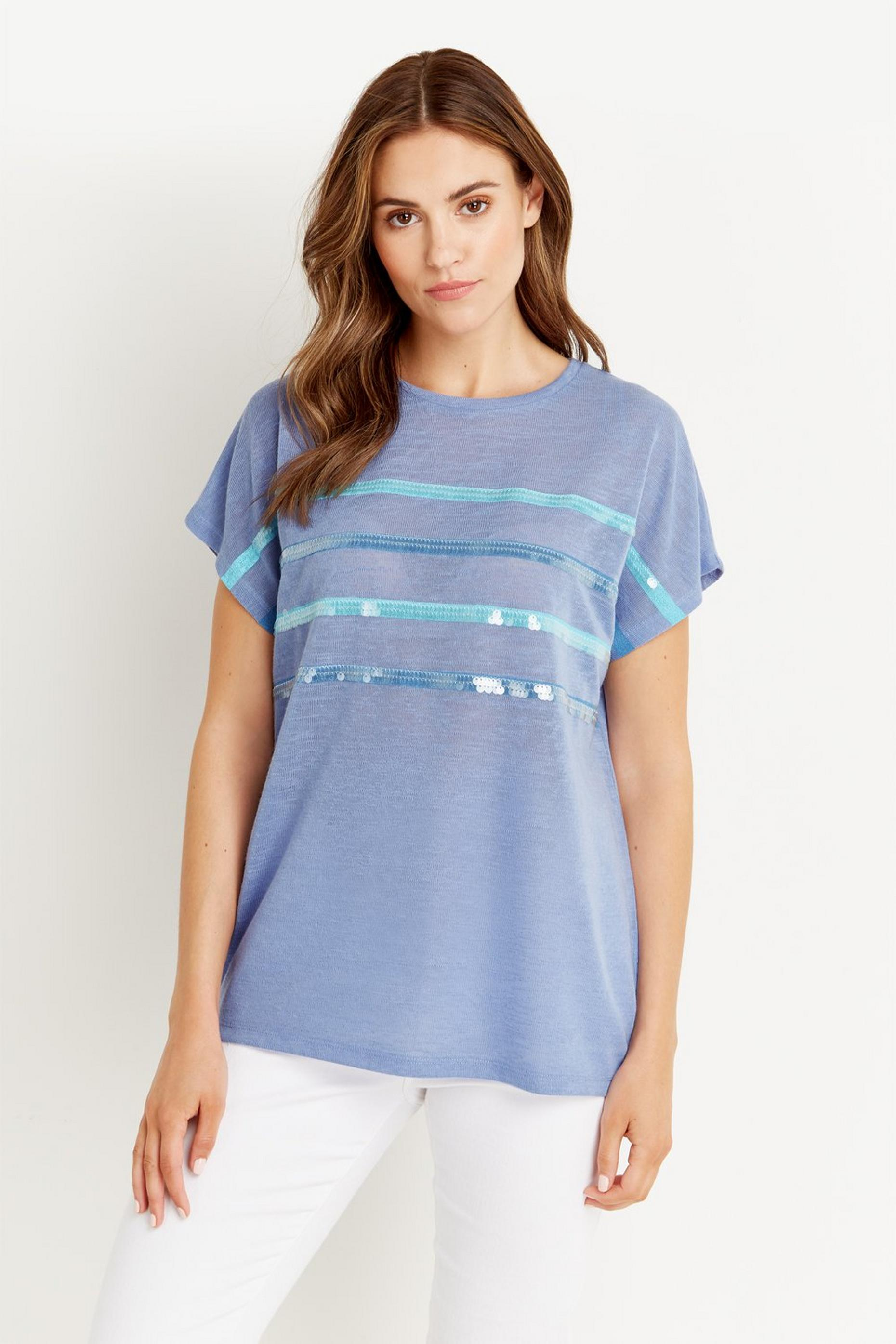 Blue Sequin Stripe T-shirt
