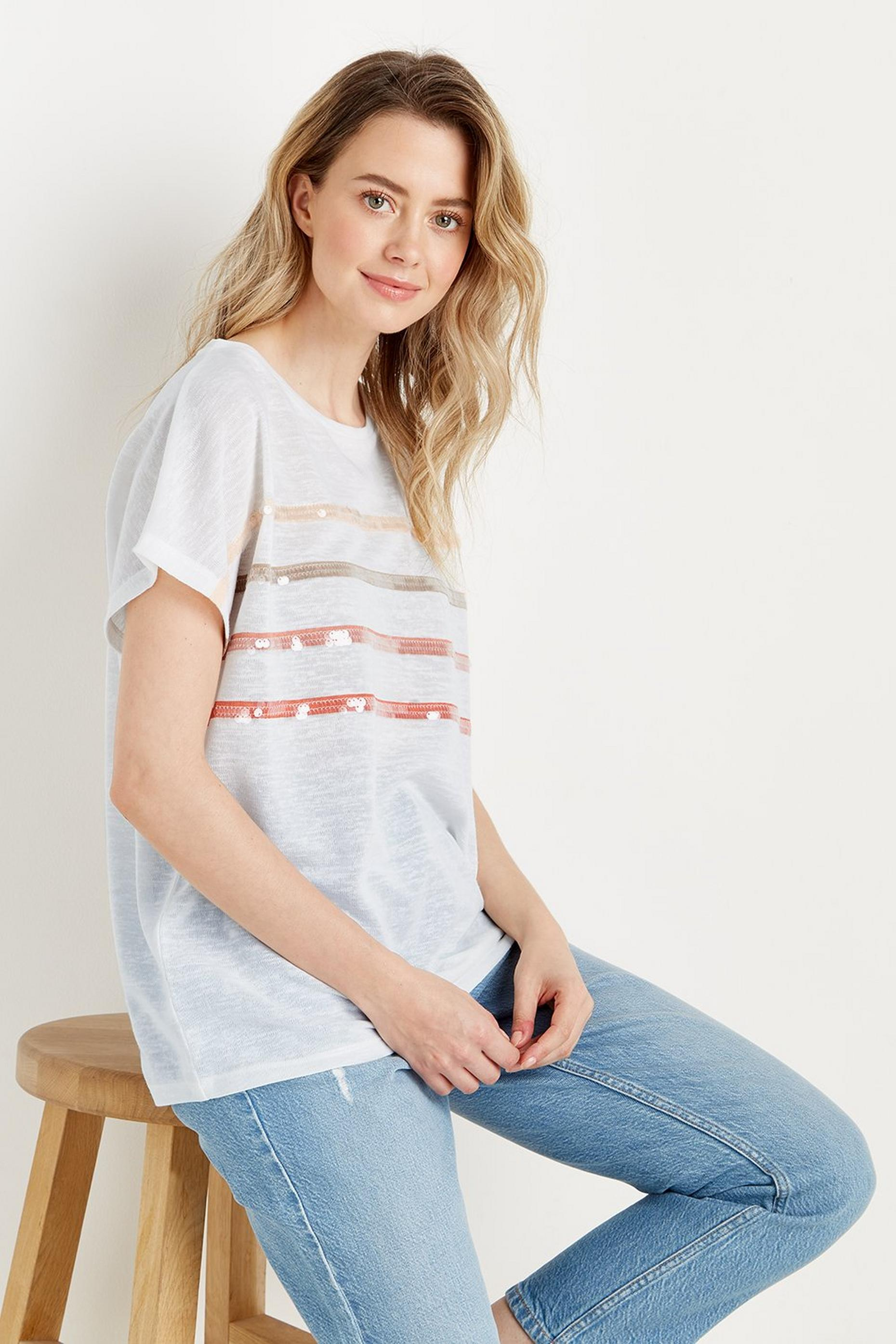 Ecru Sequin Stripe T-shirt