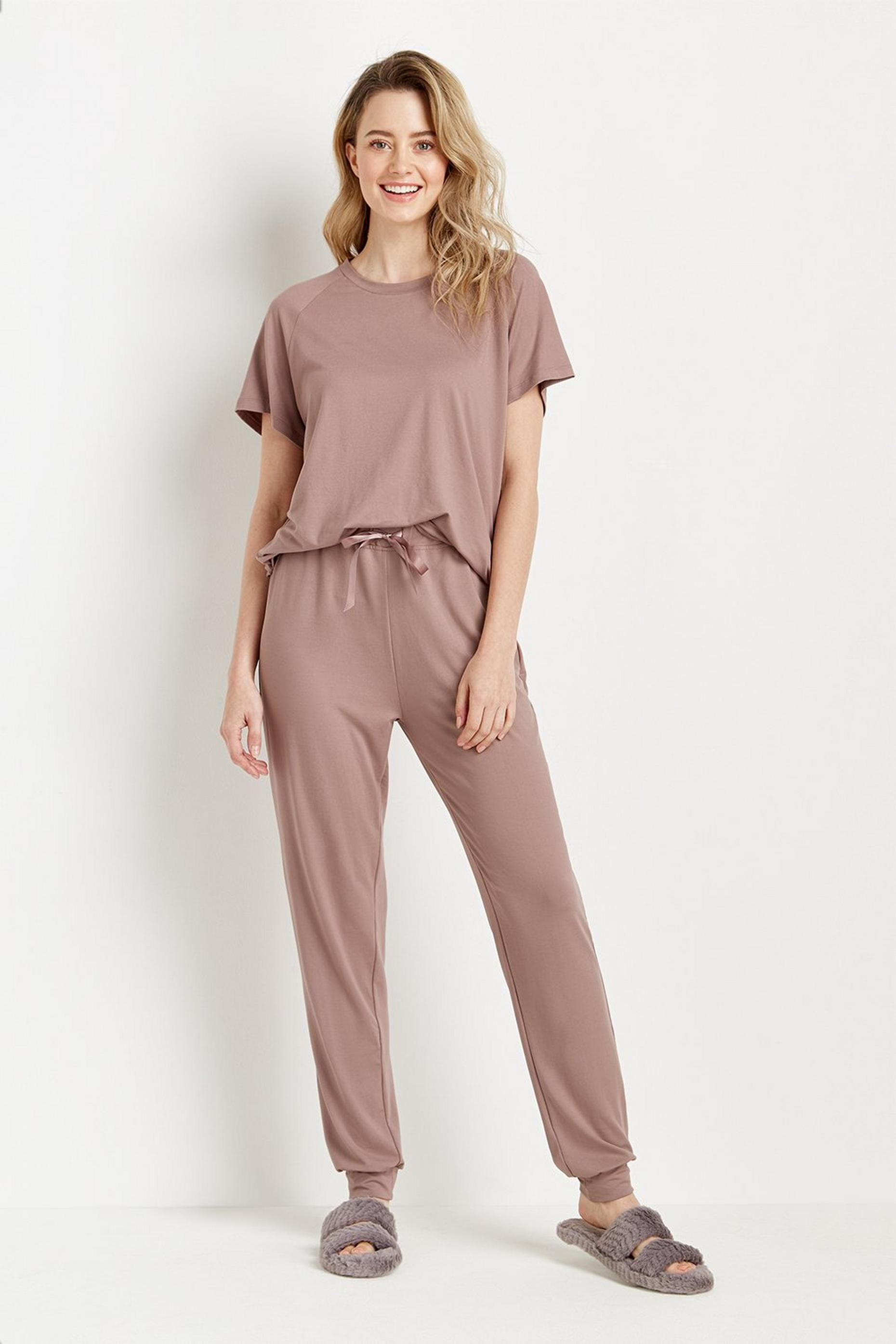 Loungeable Short Sleeve Top & Jogger Pj Set