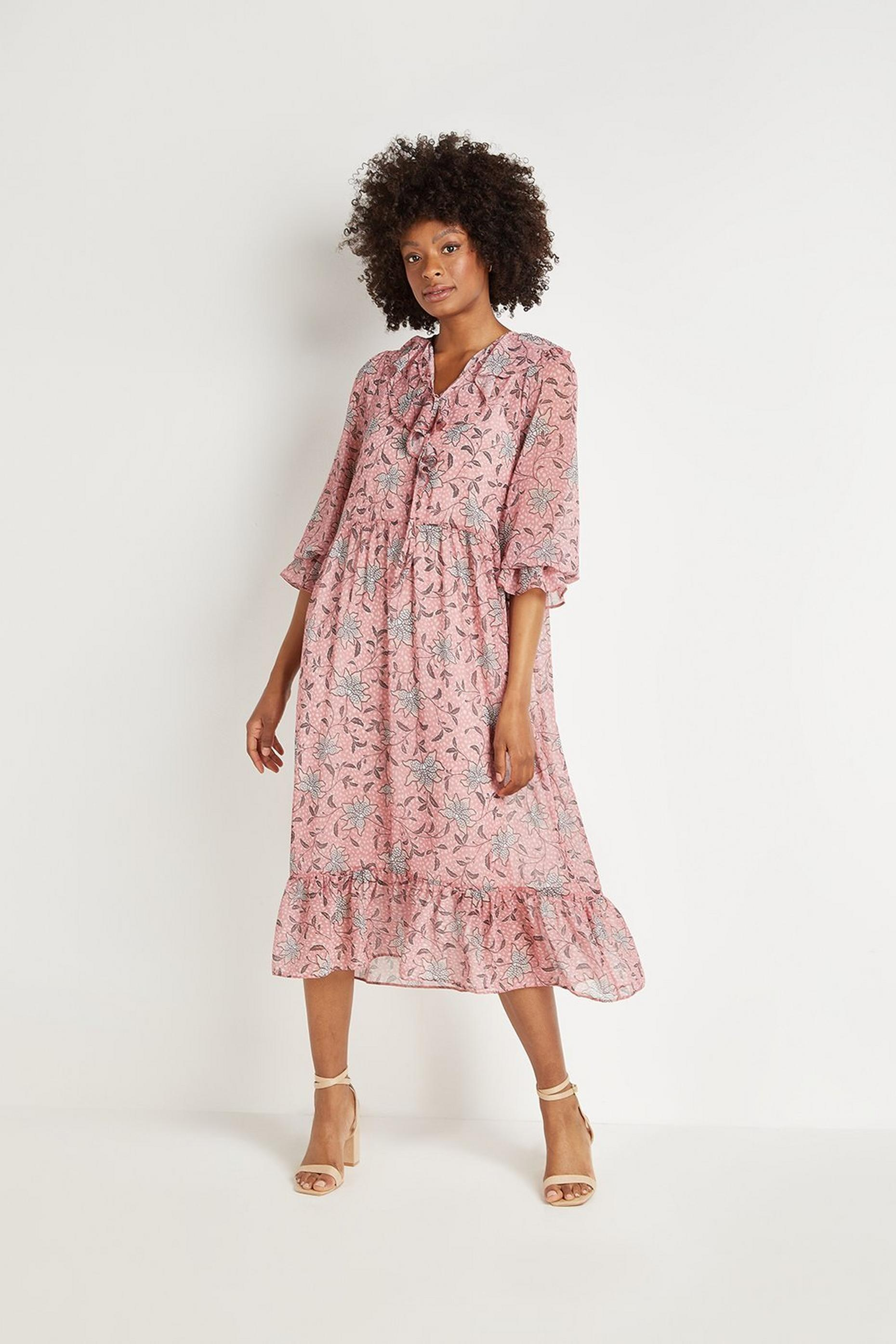 Pink Trailing Floral Frill Tiered Midi Dress