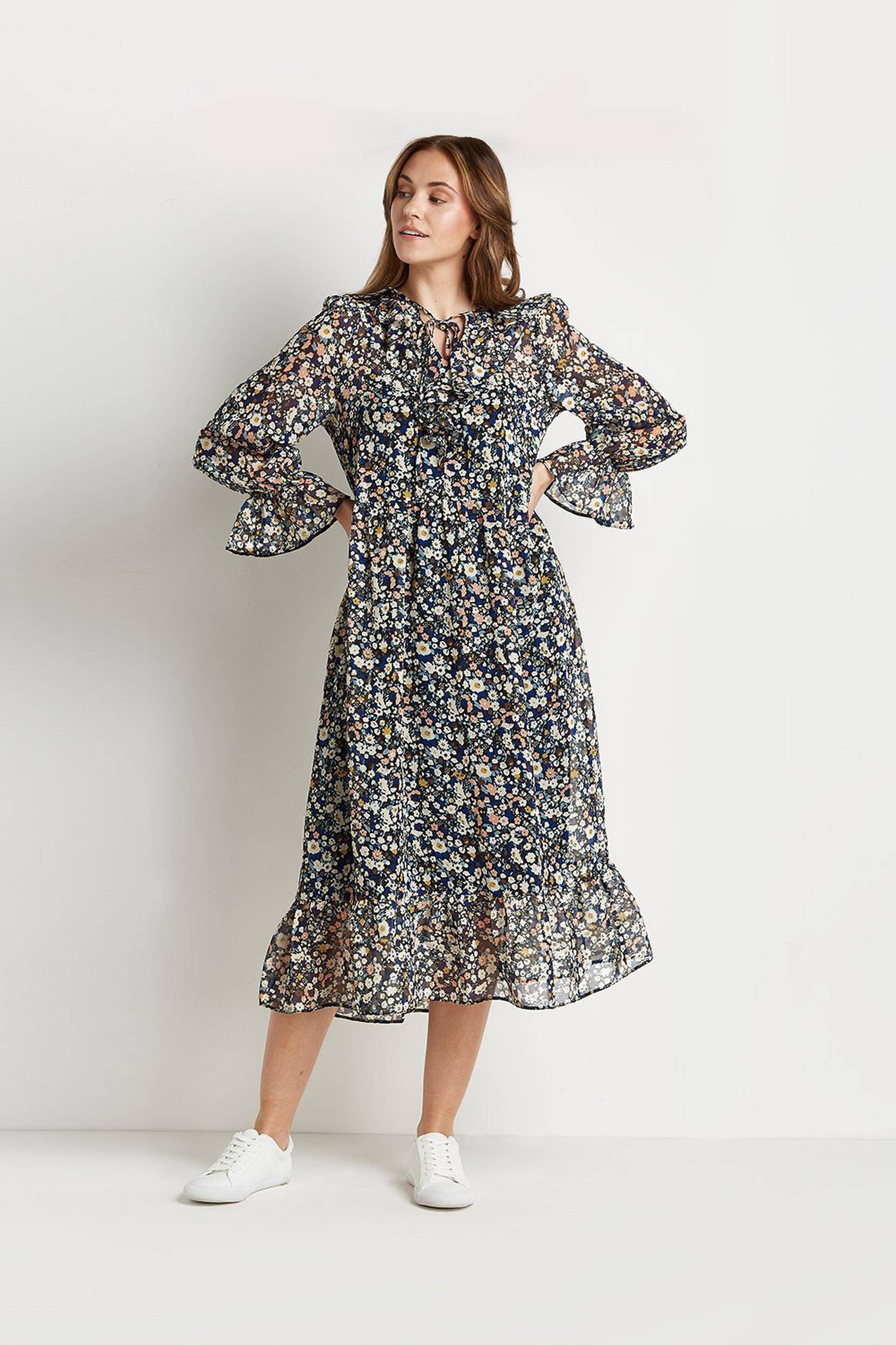 Ditsy Floral Frill Tiered Midi Dress