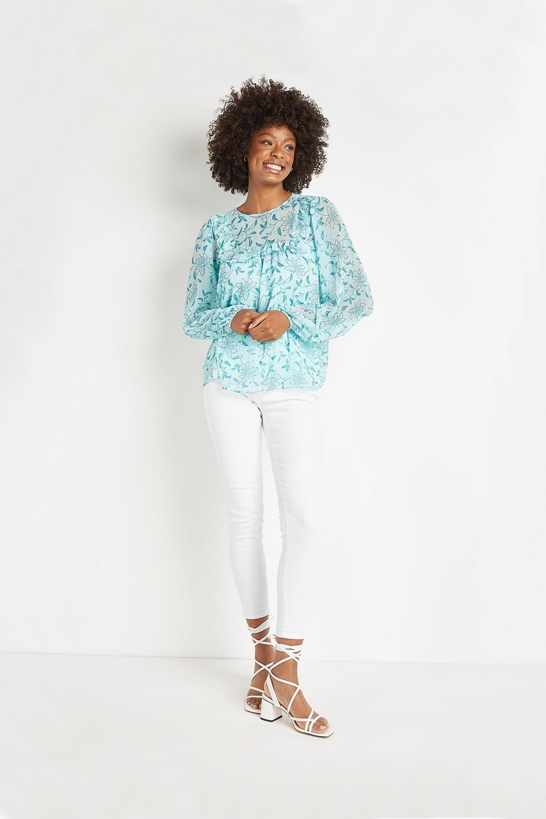 Mint Trailing Floral Frill Bib Top
