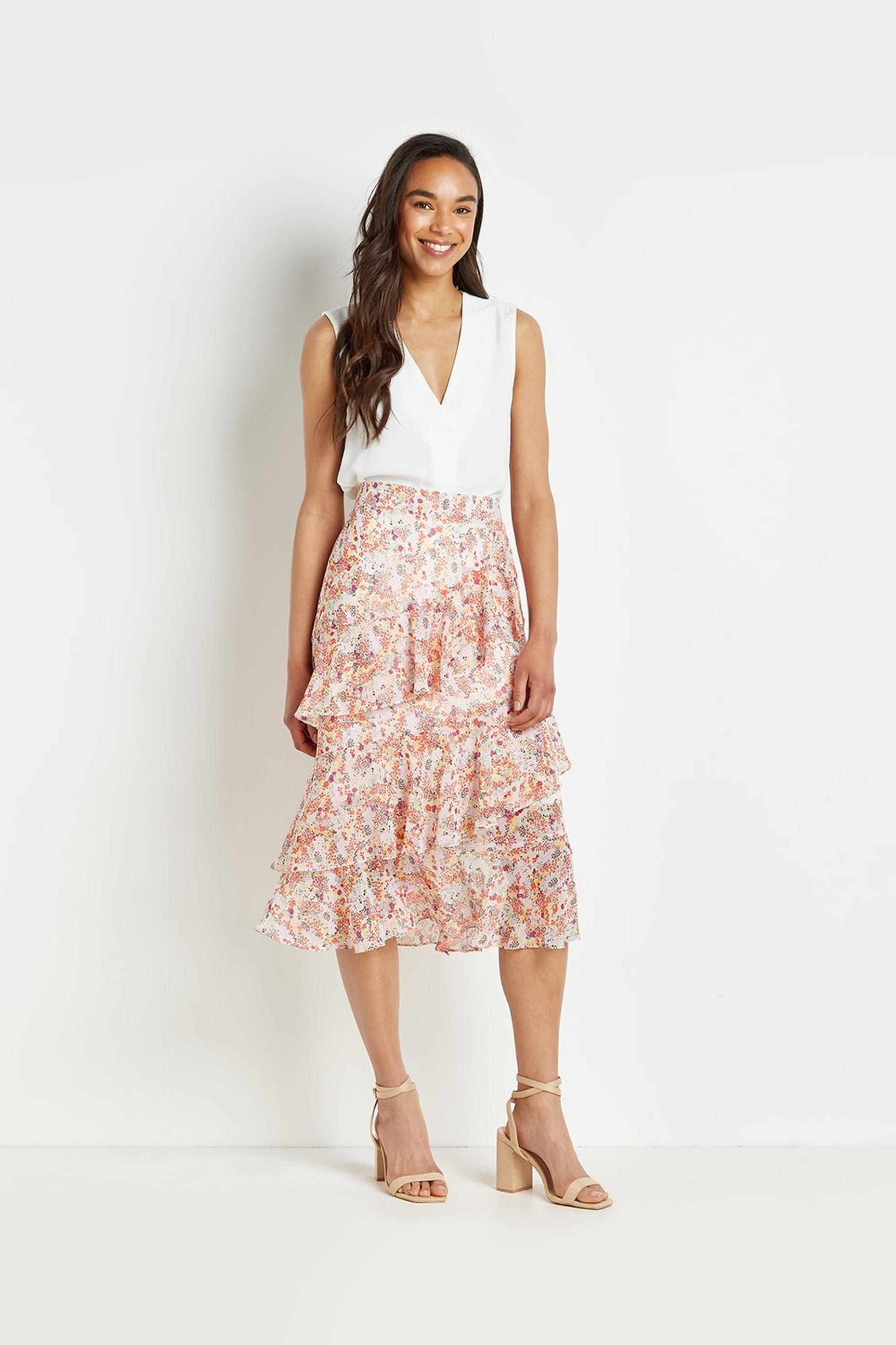 Petite Pretty Ditsy Tiered Midi Skirt
