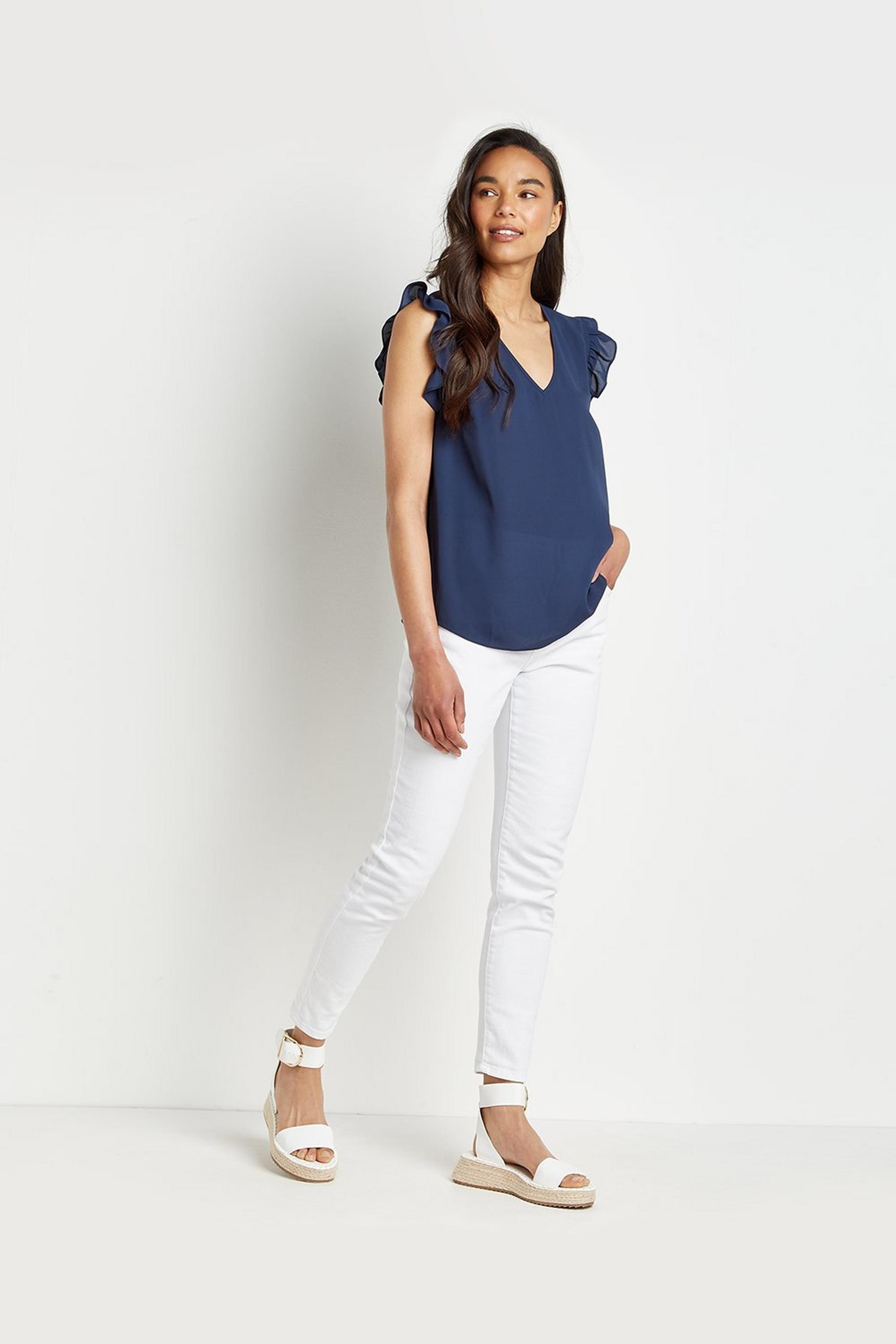 Petite Frill Shell Top
