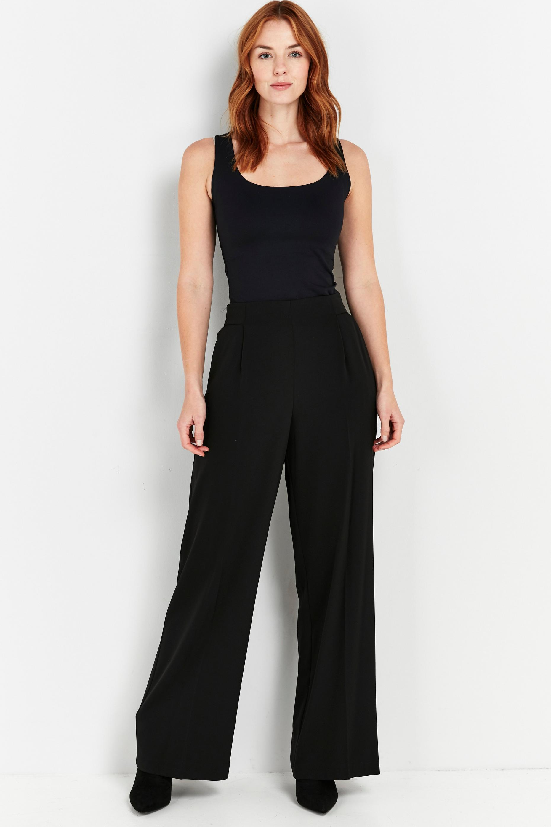 Tall Black Jersey Wide Leg Trousers