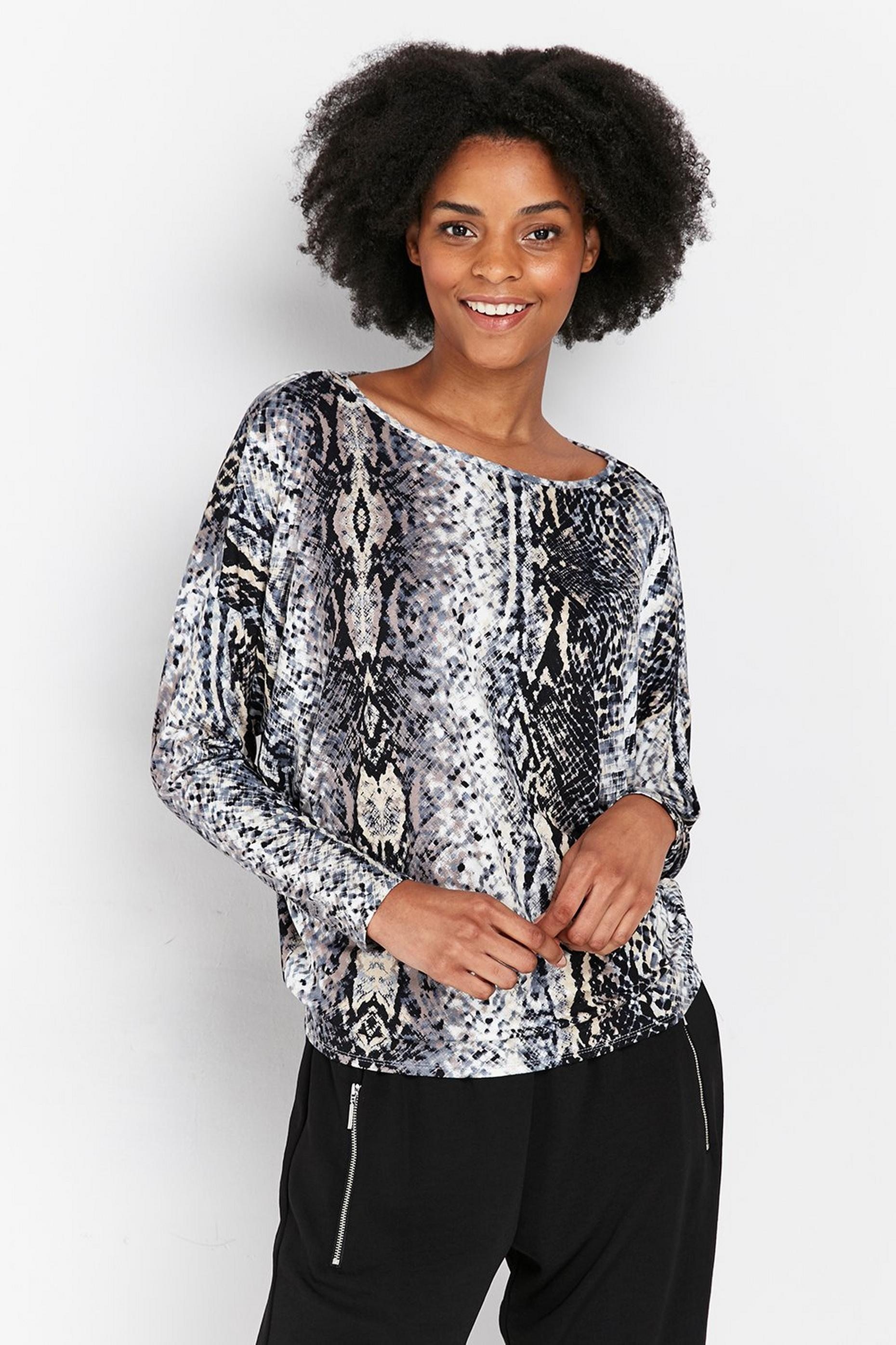 TALL Grey Snake Print Batwing Top